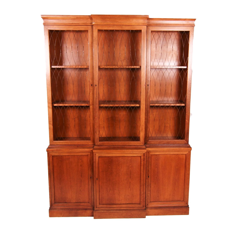 Traditional Style Breakfront Walnut Cabinet