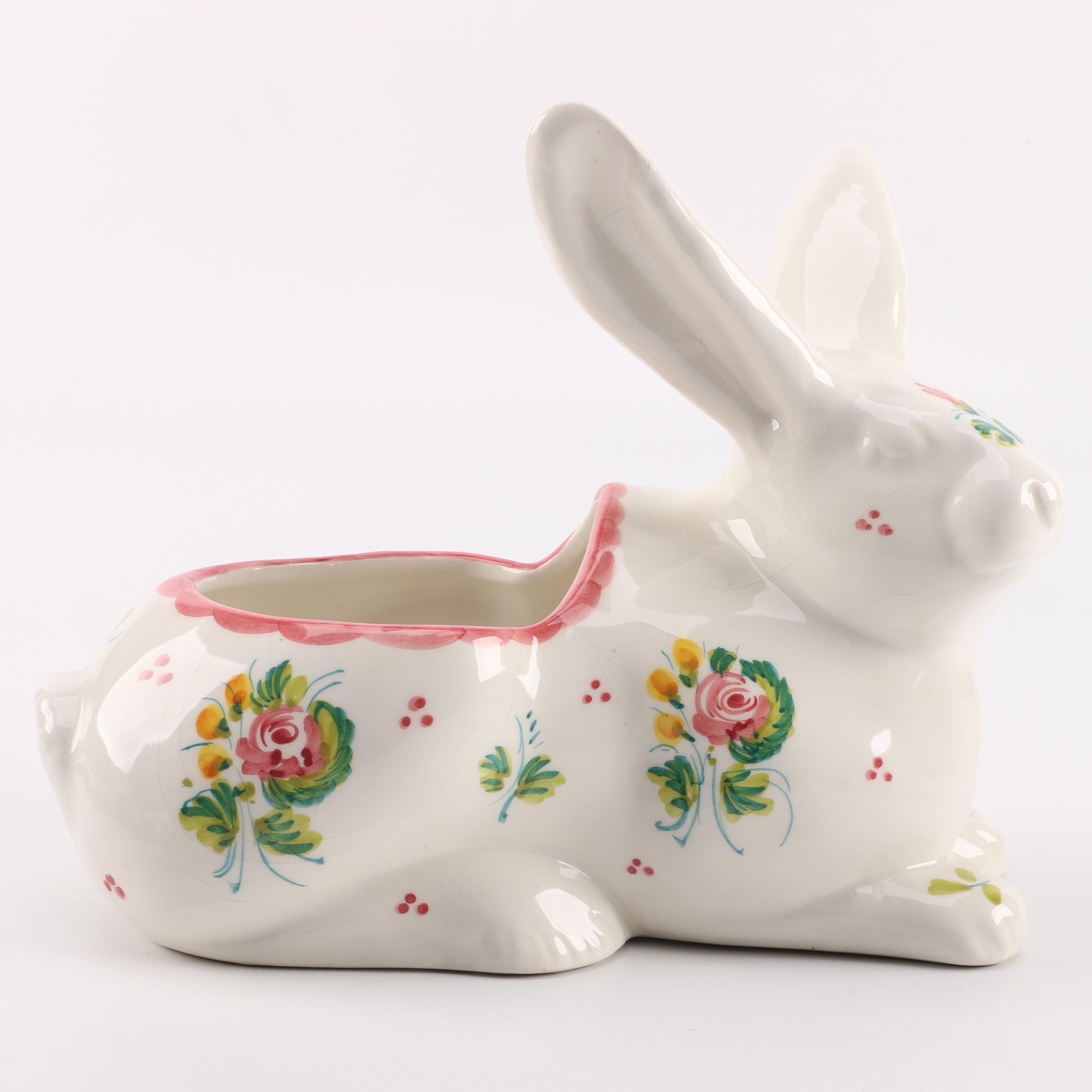 Italian Ceramic Rabbit Planter
