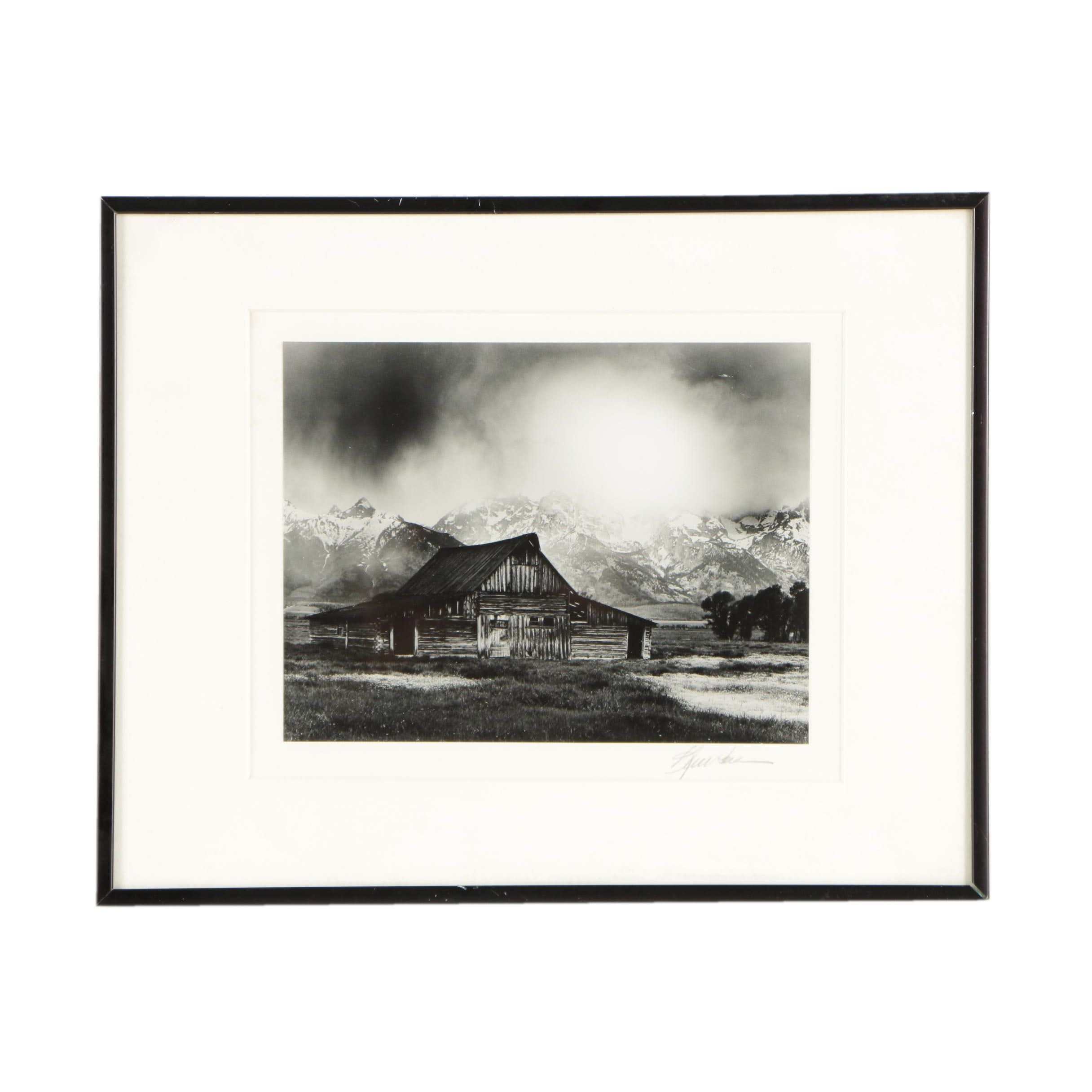 Black-and-White Photograph of Barn in Grand Teton National Park