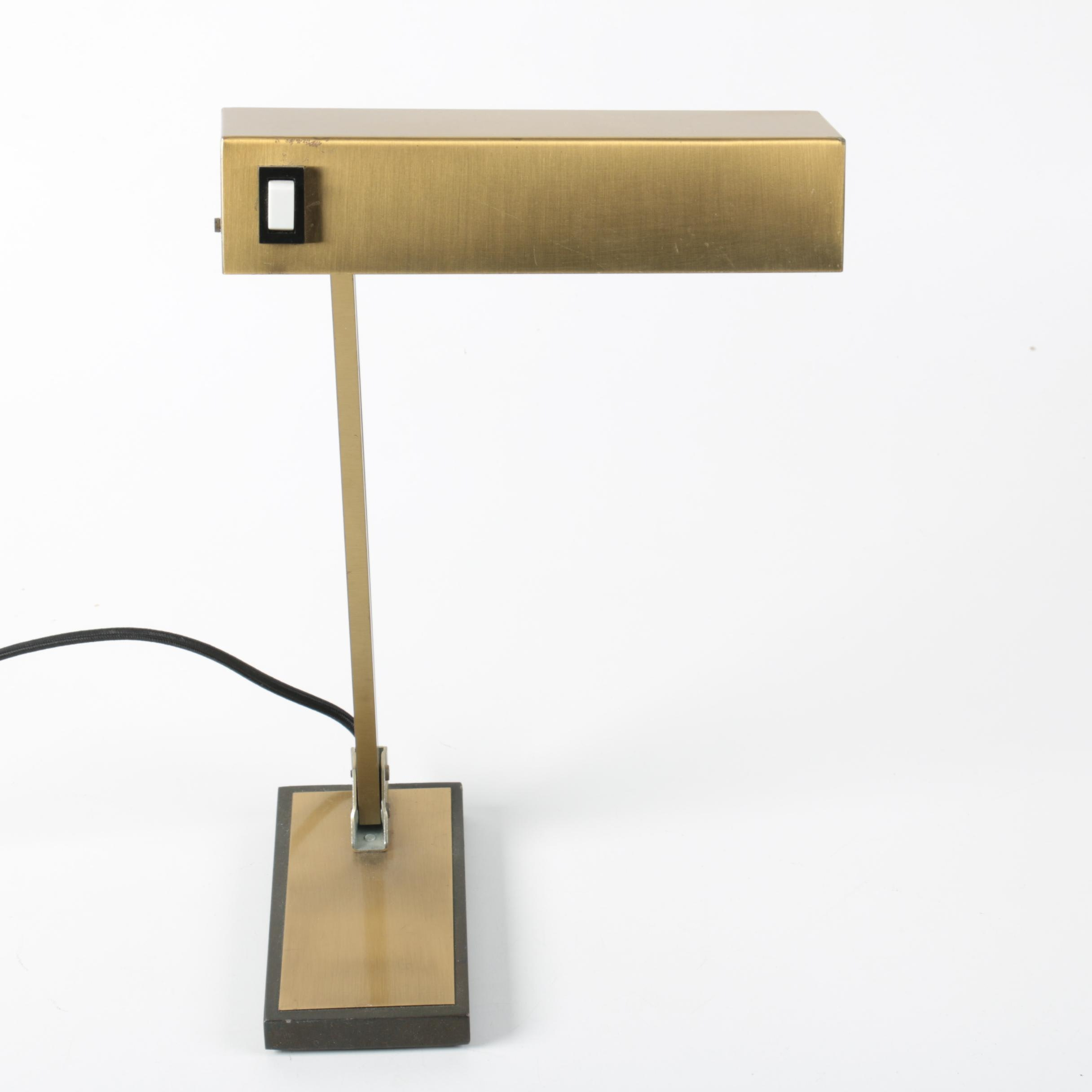 Brass Patinated Pivoting Desk Lamp
