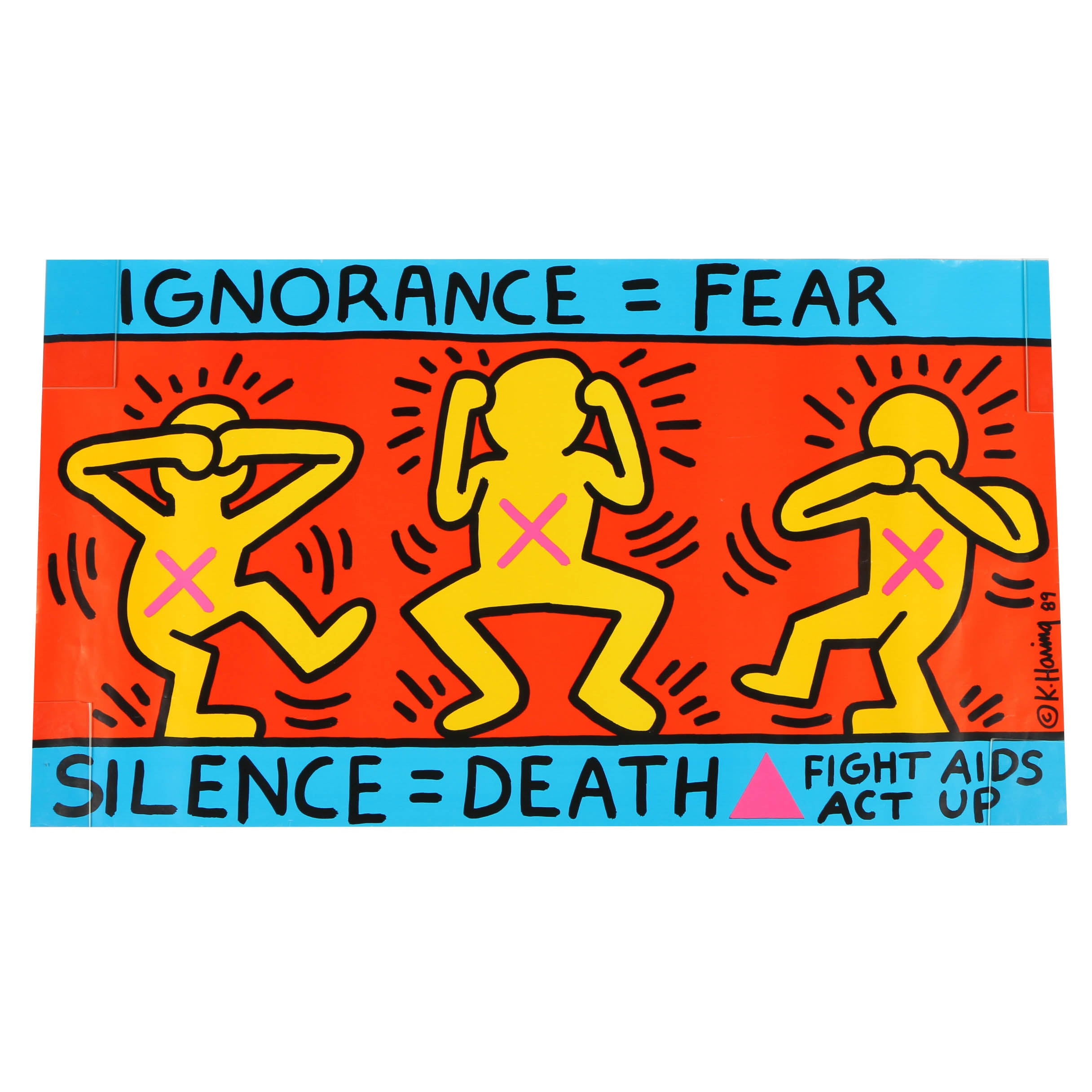 "Reproduction Print Designed by Keith Haring ""Ignorance = Fear, Silence = Death"""