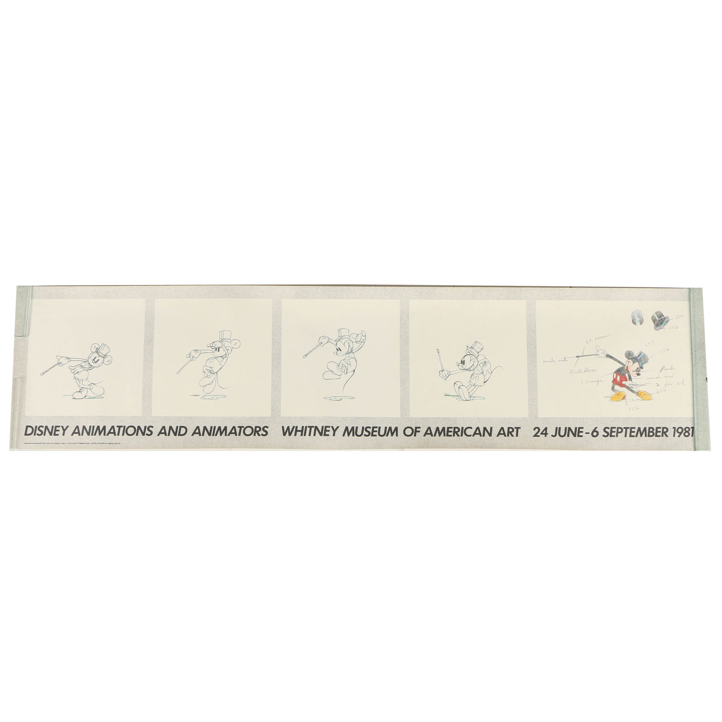 Offset Lithograph Poster of Mickey Mouse Animation Drawings