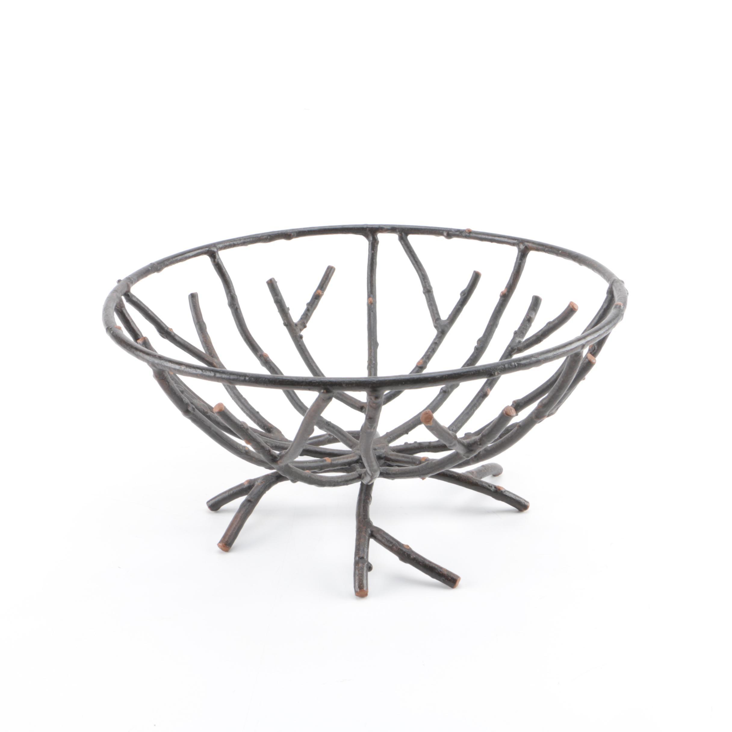 Branch Style Metal Basket Bowl