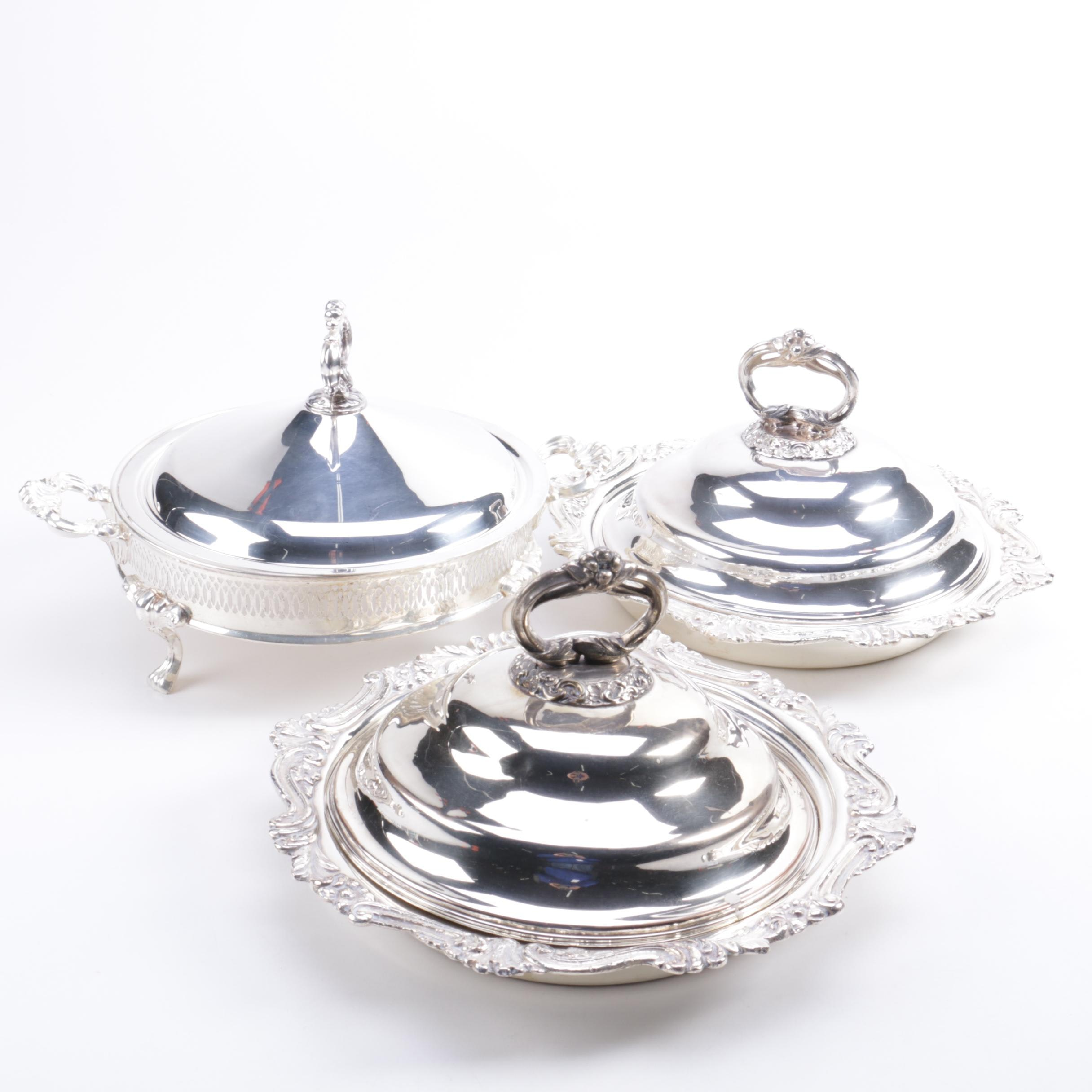 Silver-Plated Lidded Serving Dishes