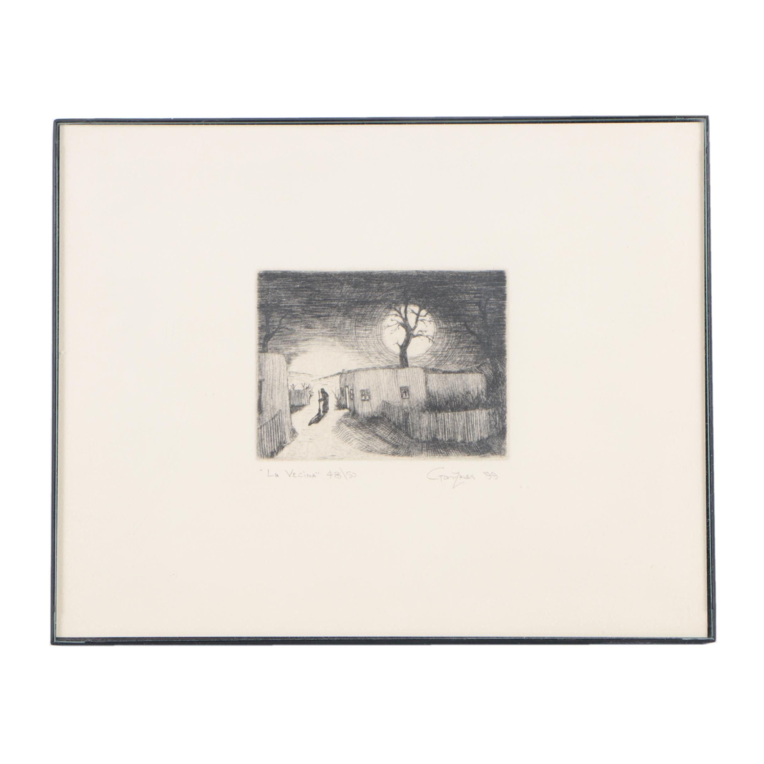"Gonzales Limited Edition Etching on Paper ""La Vecina"""