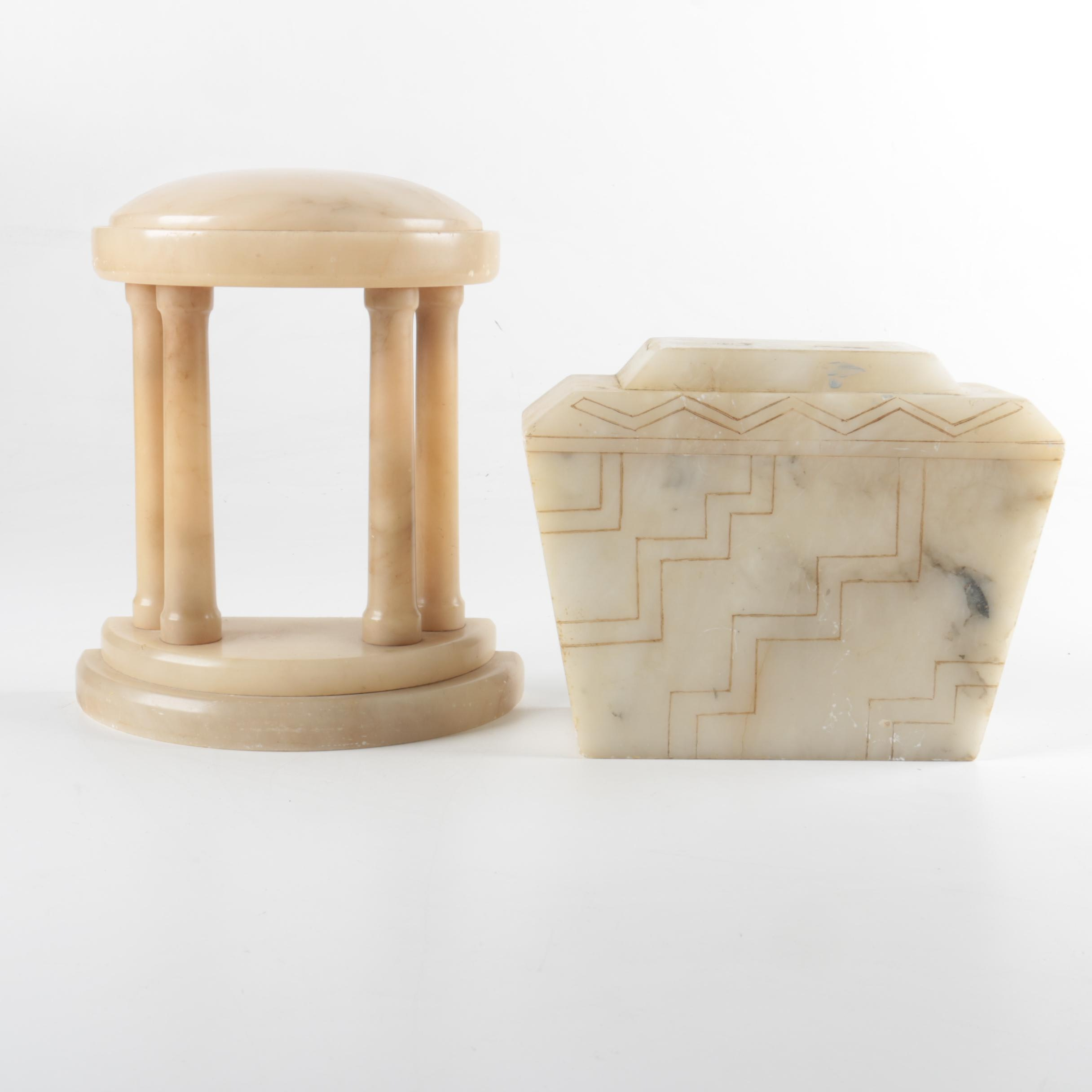 Alabaster Bookend and Decorative Box