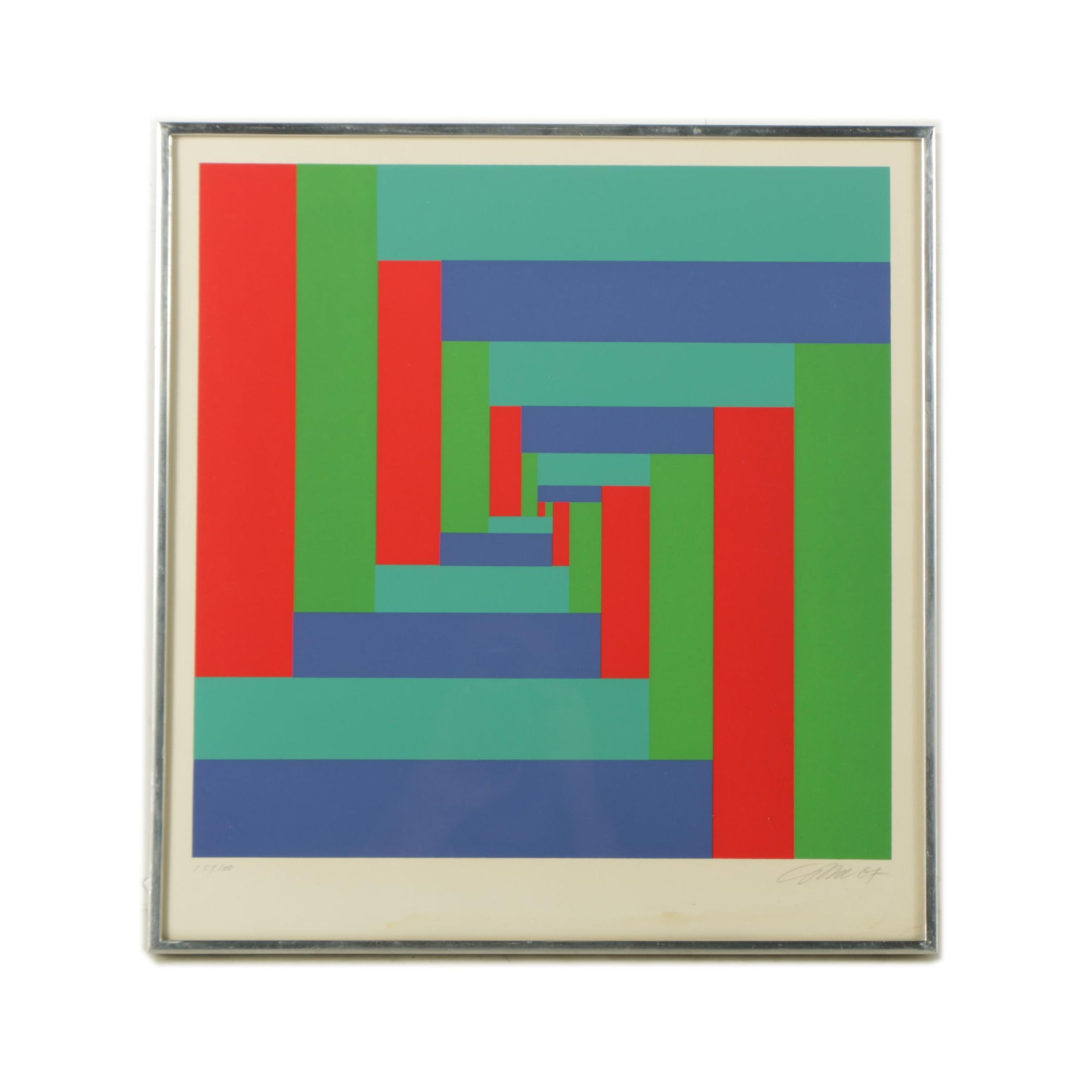 Richard Paul Lohse Limited Edition Serigraph on Paper Op Art