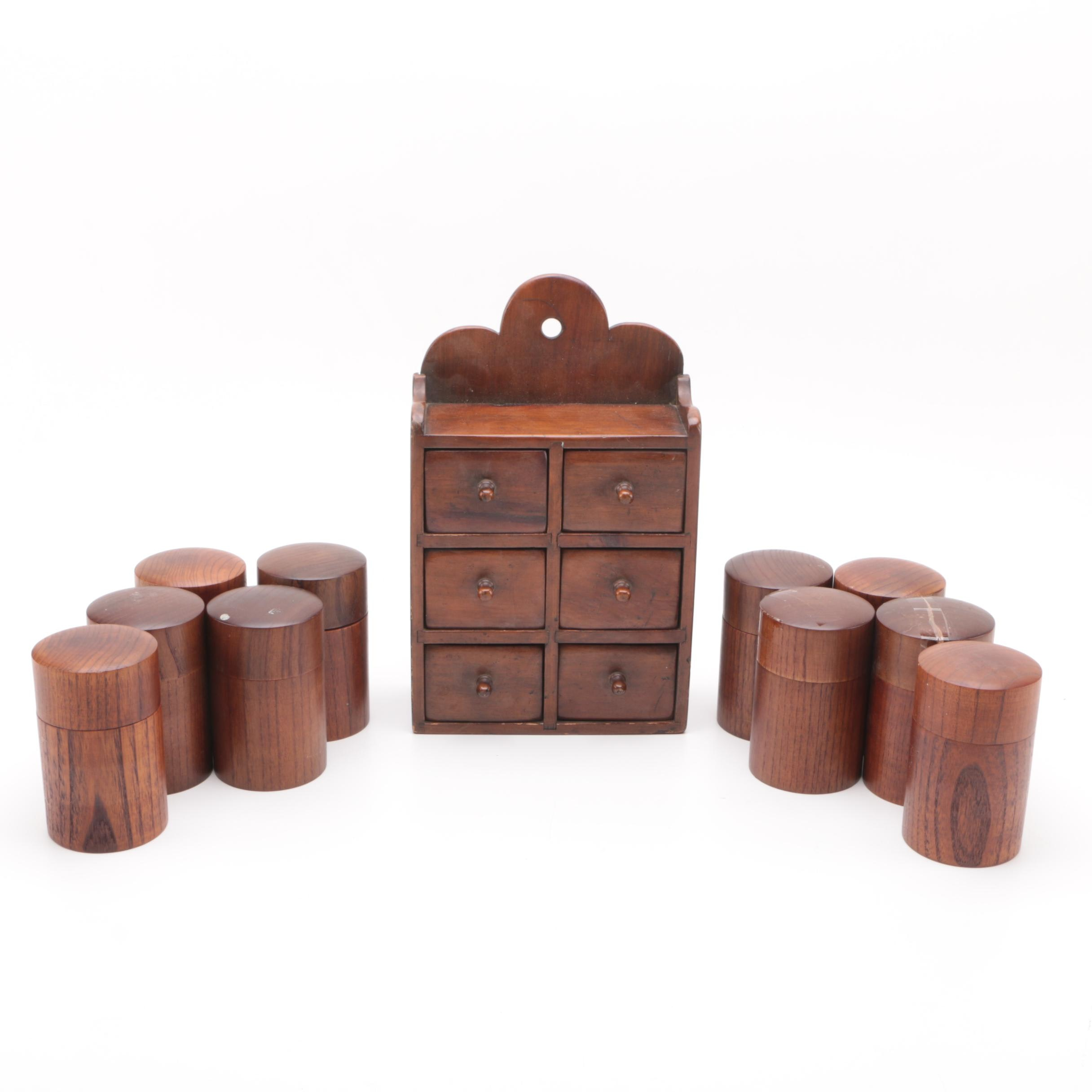 Wooden Spice Rack and Canisters