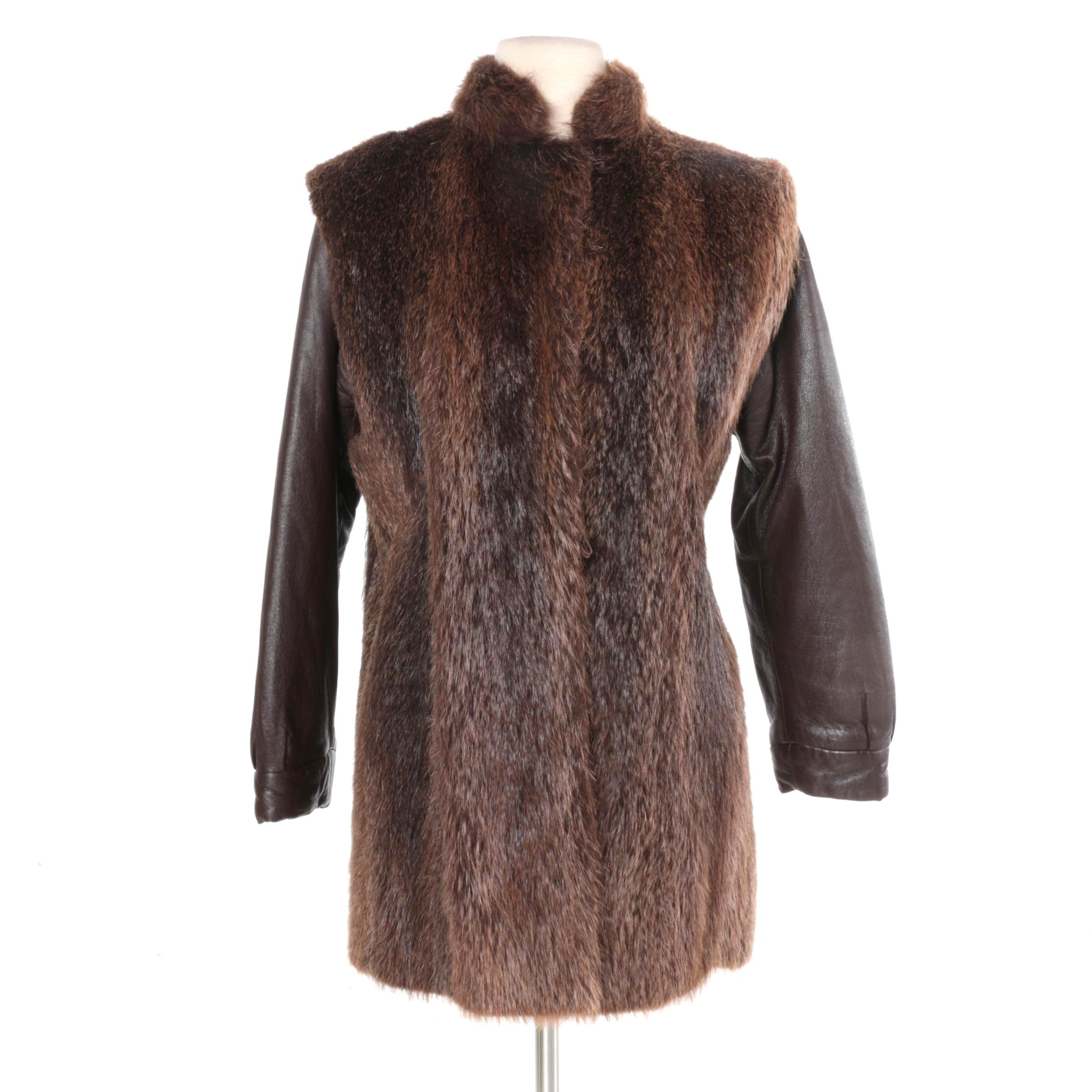 Women's Brown Leather and Muskrat Fur Coat