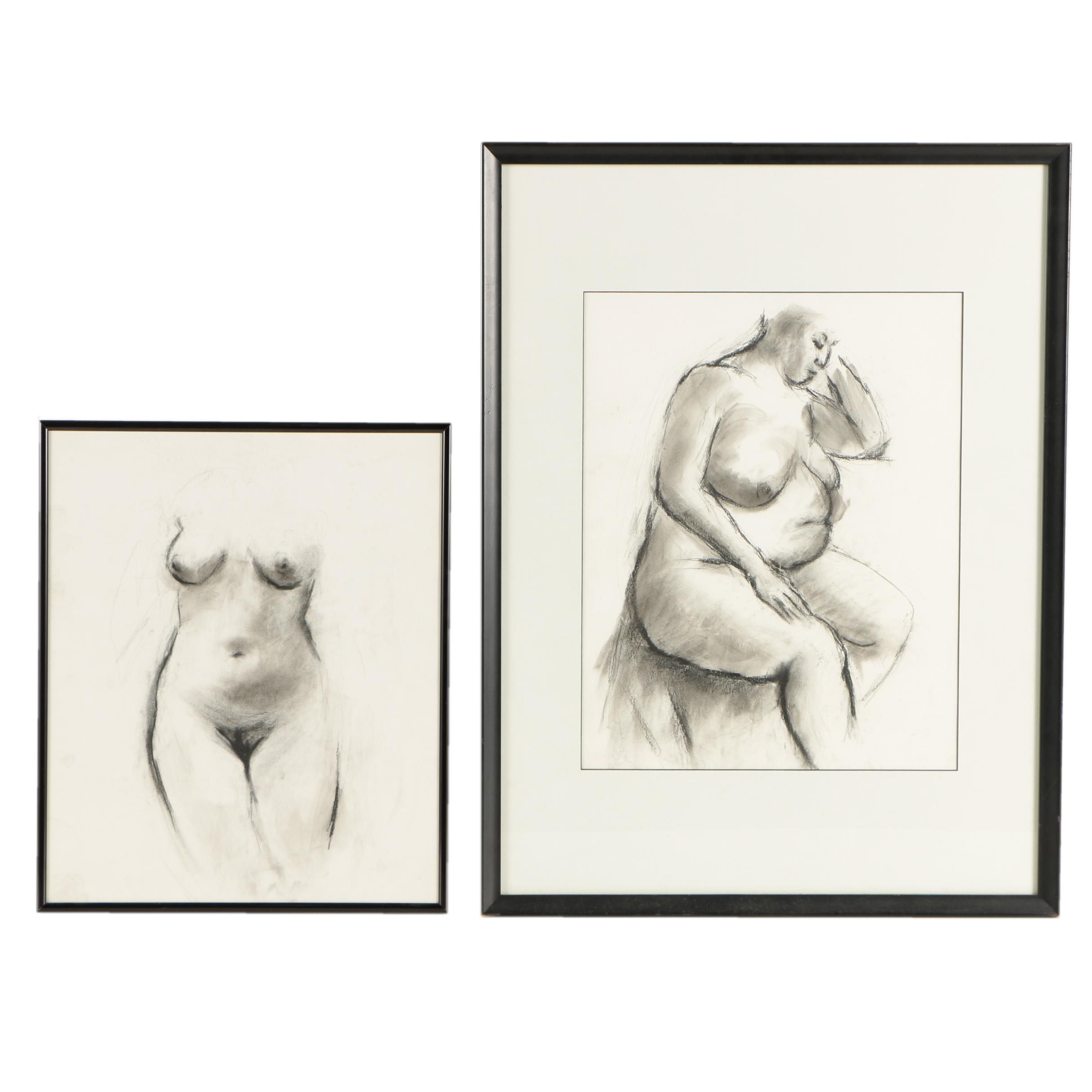 Charcoal Drawings on Paper of Nude Figure Studies