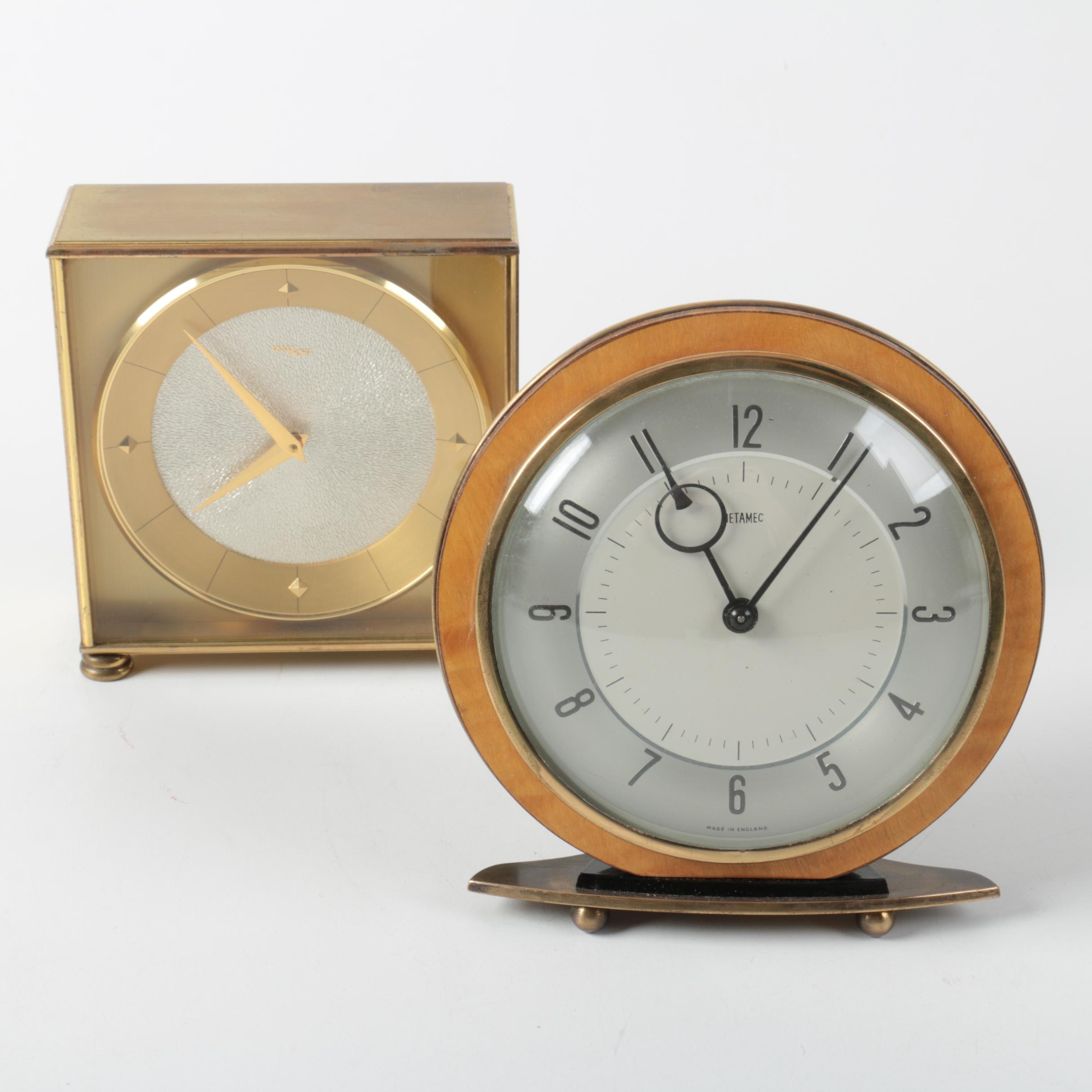 Vintage Art Deco Style Desk Clocks including Metamec and Imhof