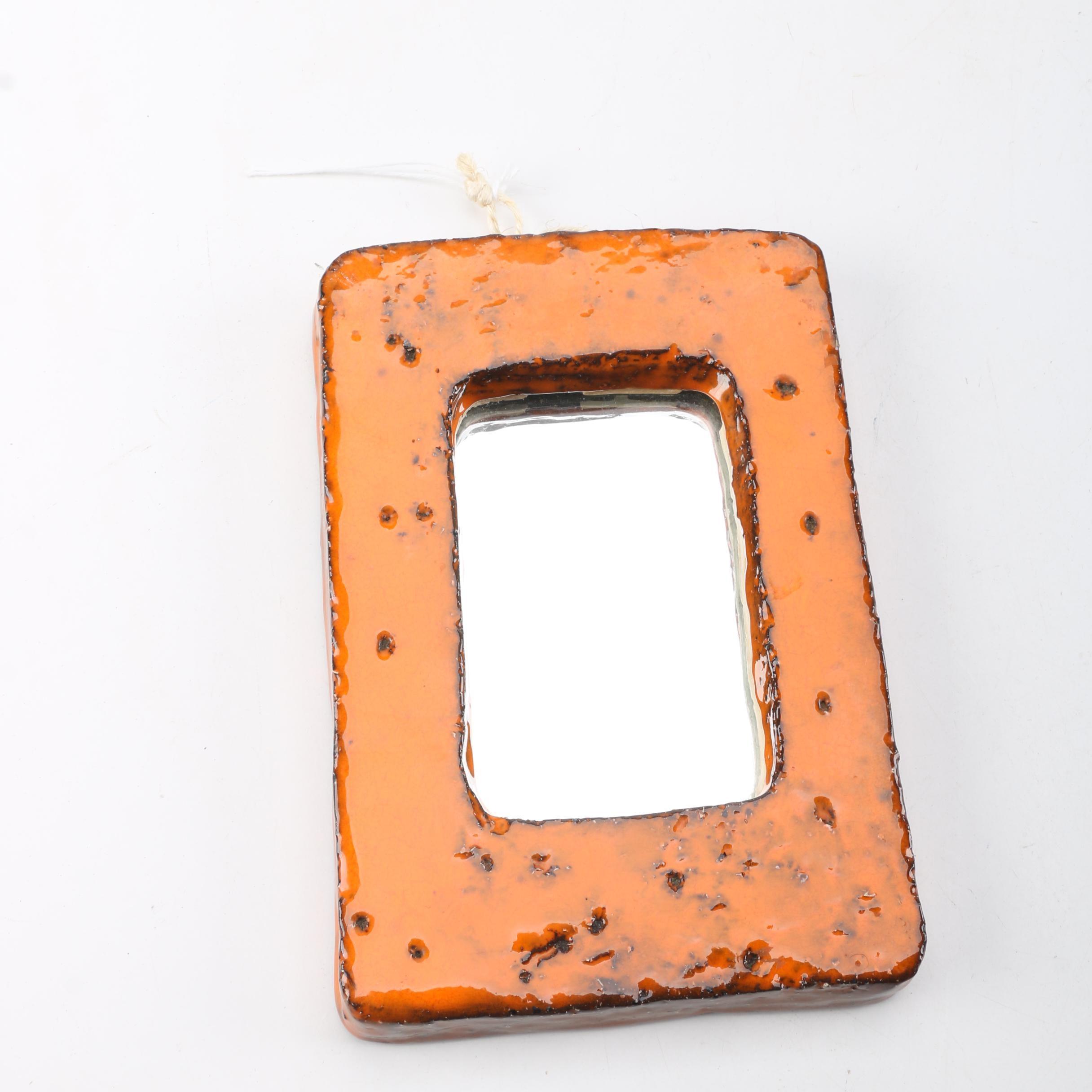 Signed Handbuilt Stoneware Framed Mirror