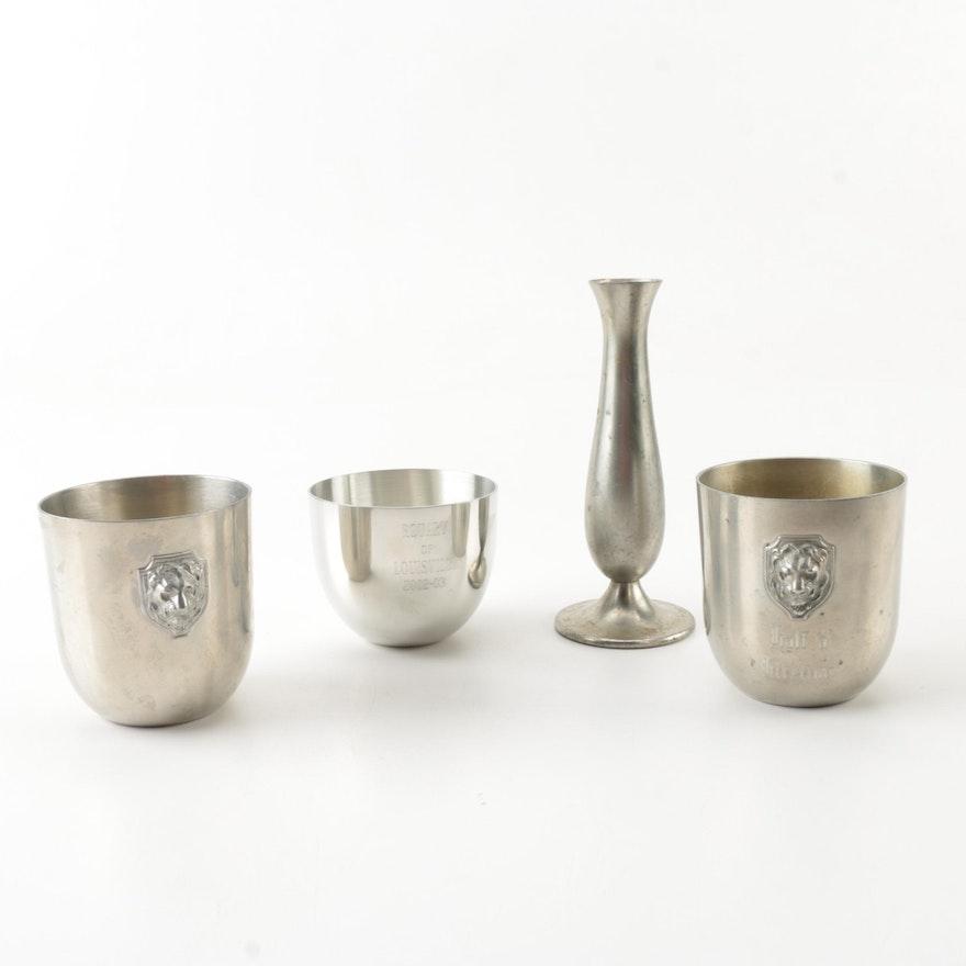 Daalderop Pewter Bud Vase With Lunt And Salisbury Jefferson Cups Ebth