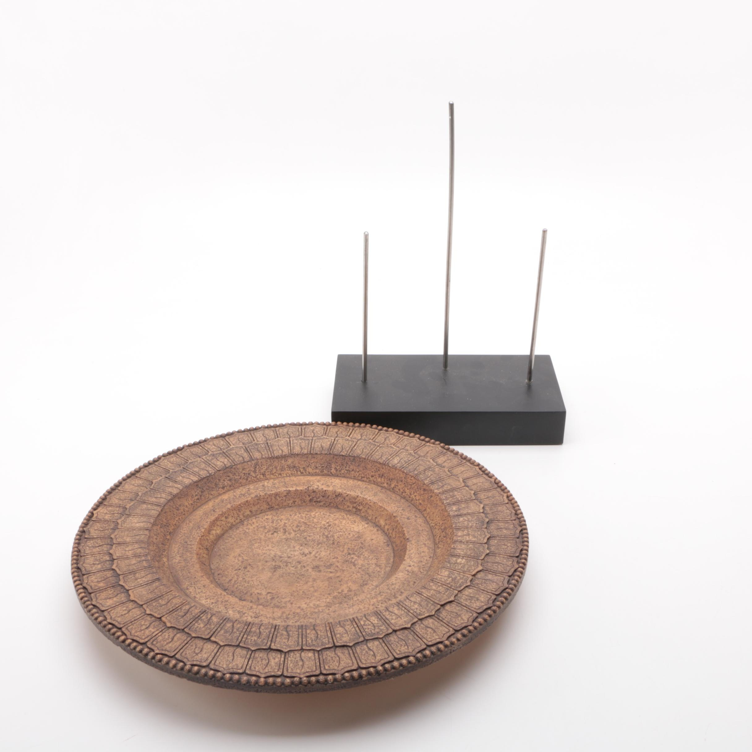 Beaded Rim Plate and Stand