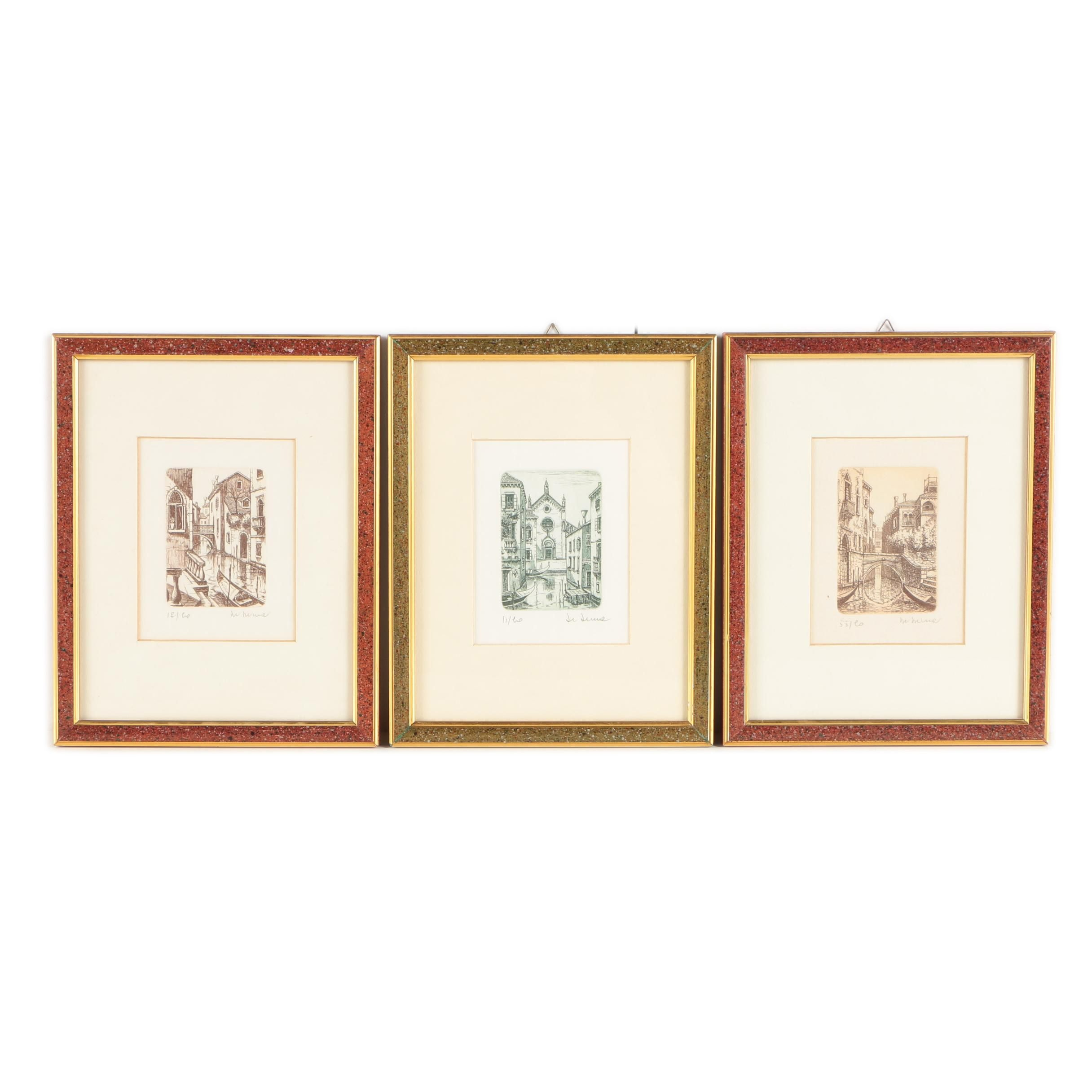 Limited Edition Etchings on Paper of Venetian Scenes
