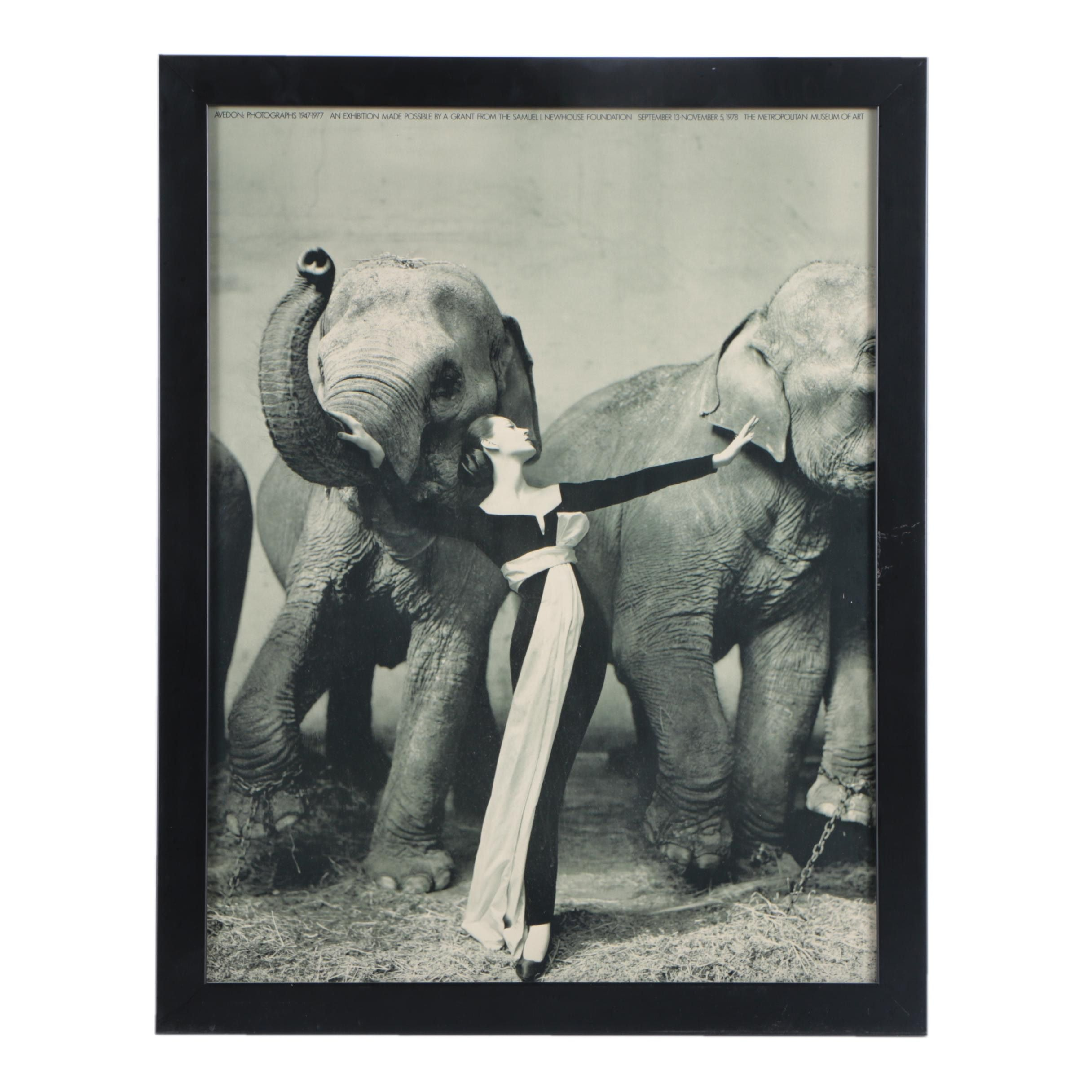 "Reproduction Exhibition Poster After Richard Avedon's ""Dovima with Elephants"""