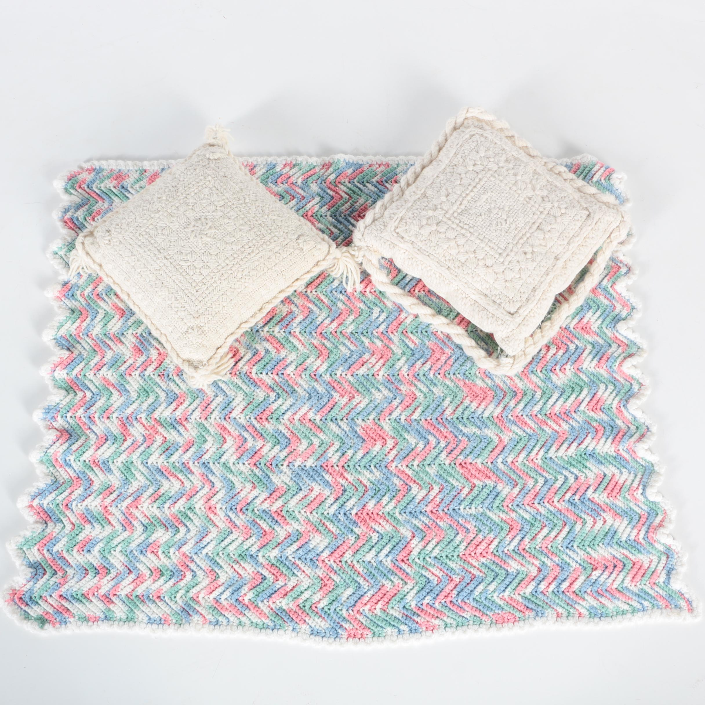 Crocheted Baby Blanket and Needlepoint Pillows