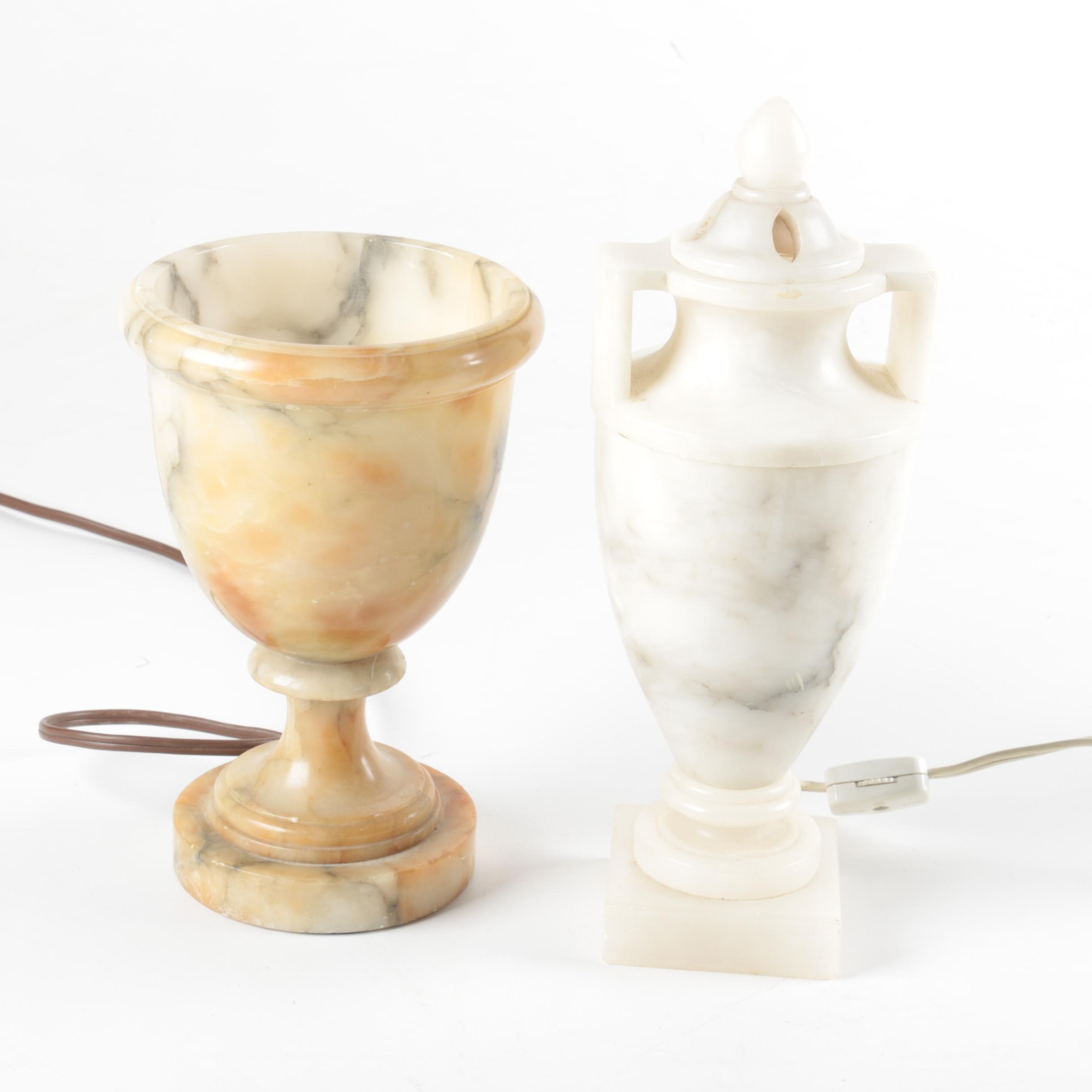 Vintage Alabaster and Marble Urn  Accent Lamps