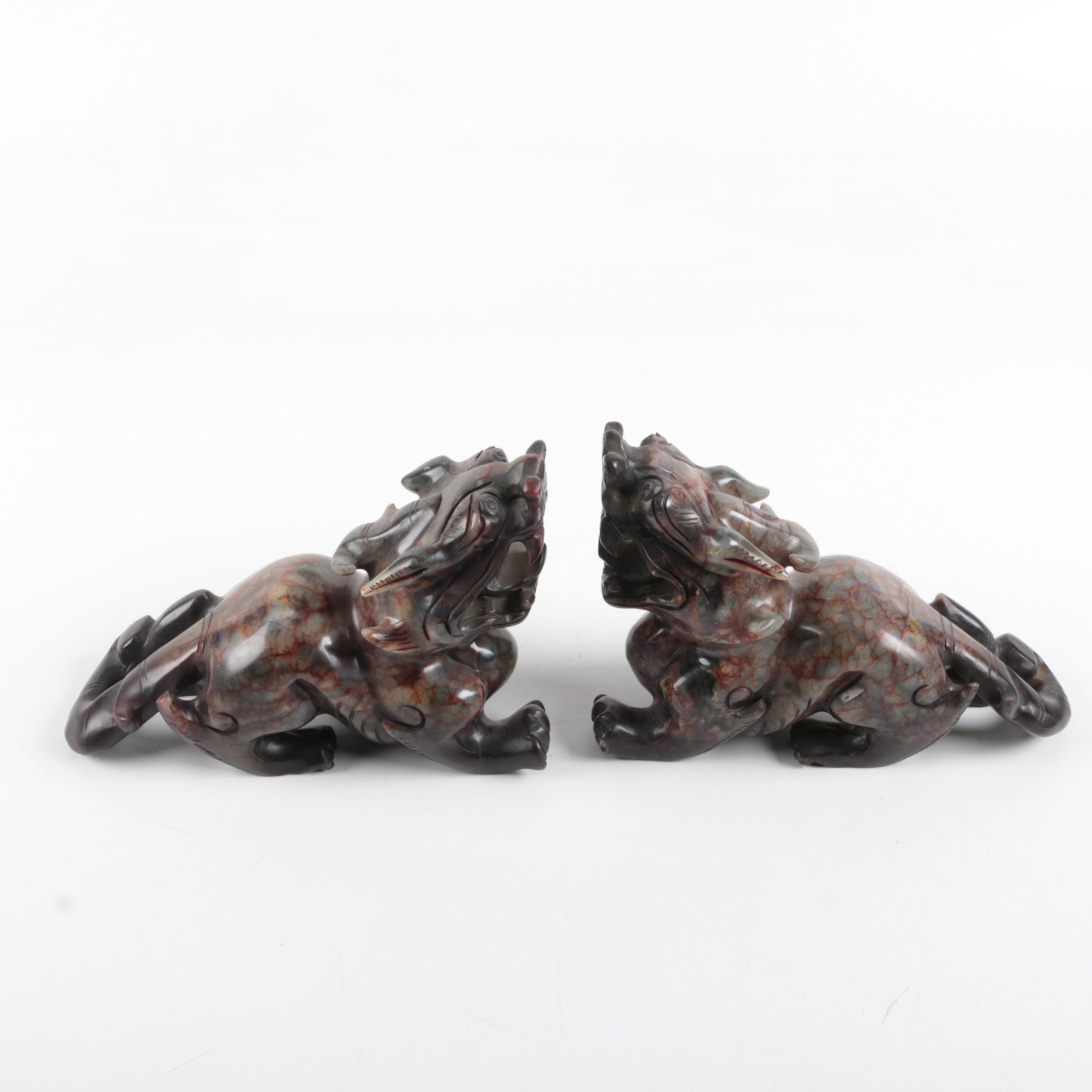 Chinese Inspired Soapstone Dragon Bookends