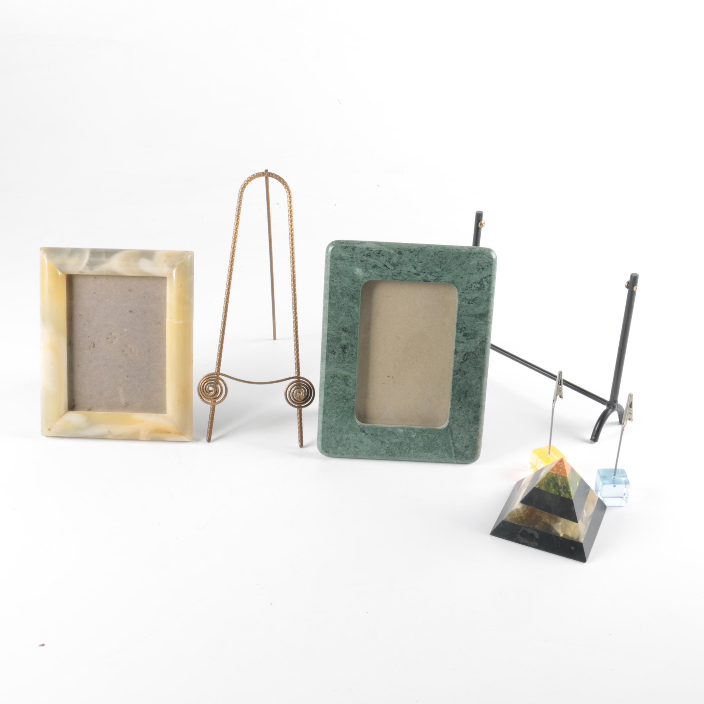 Desk Decor with Frames and Paperweights
