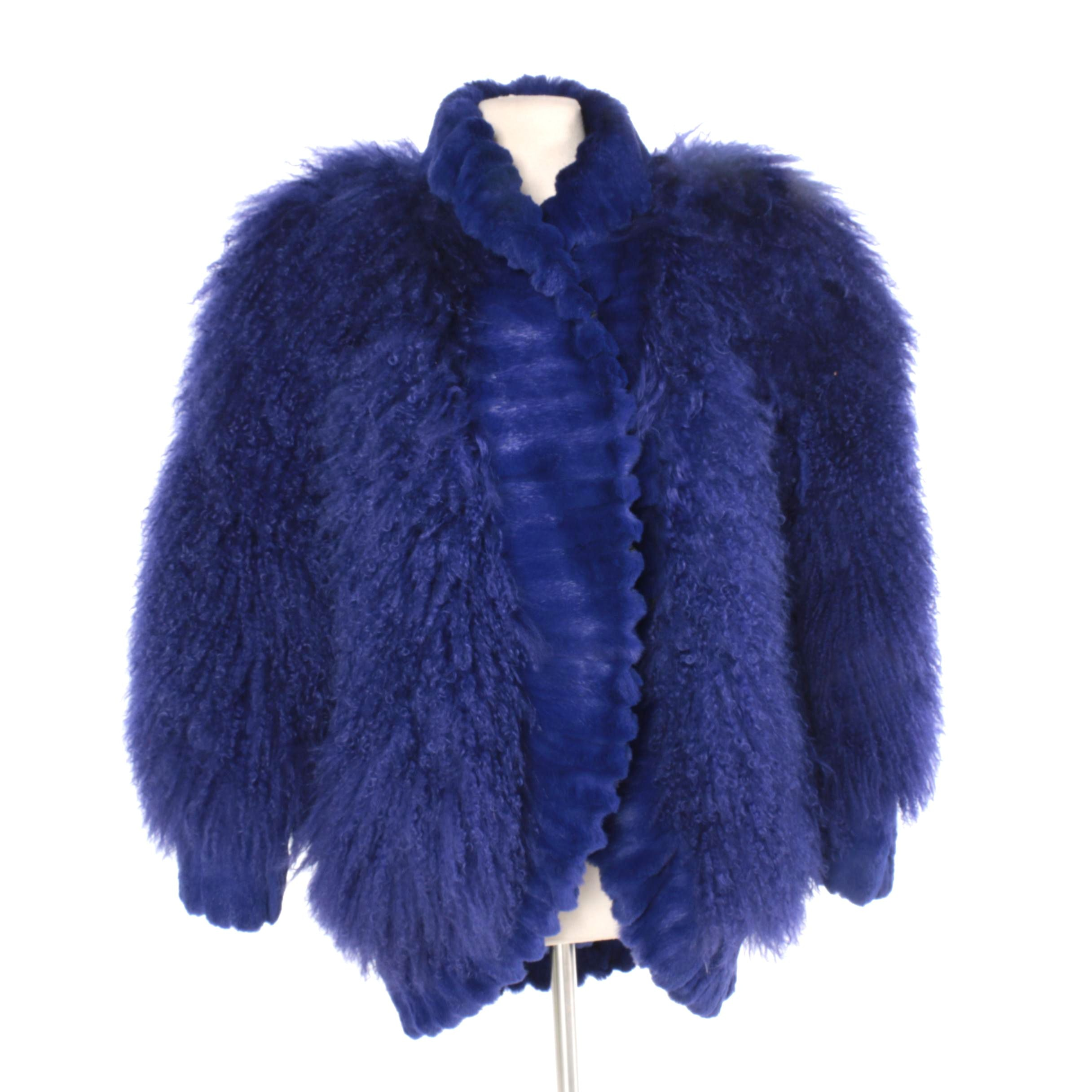 Revillon Purple Mongolian Lamb Fur Coat