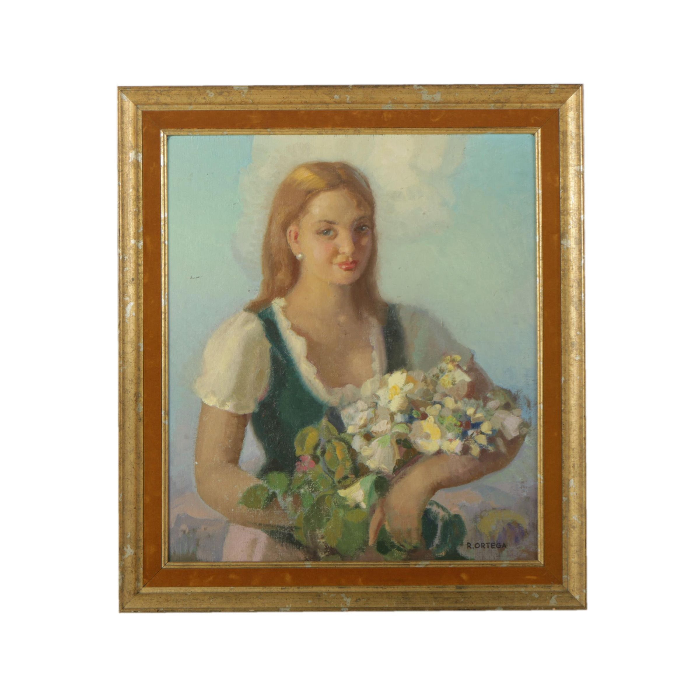 Rafael Ortega Heredia Oil Painting of Girl with Flowers