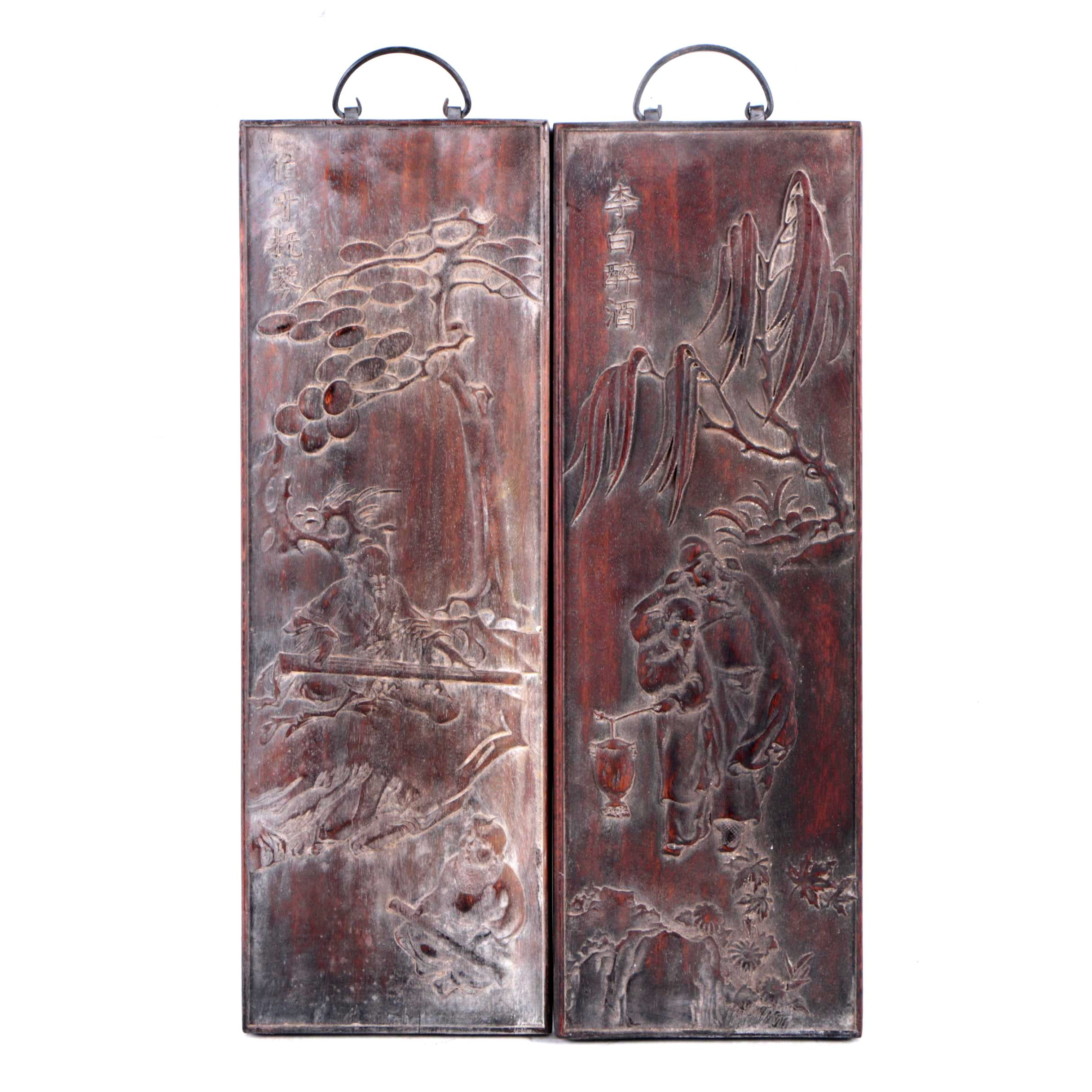 Chinese Low Relief Wood Carvings