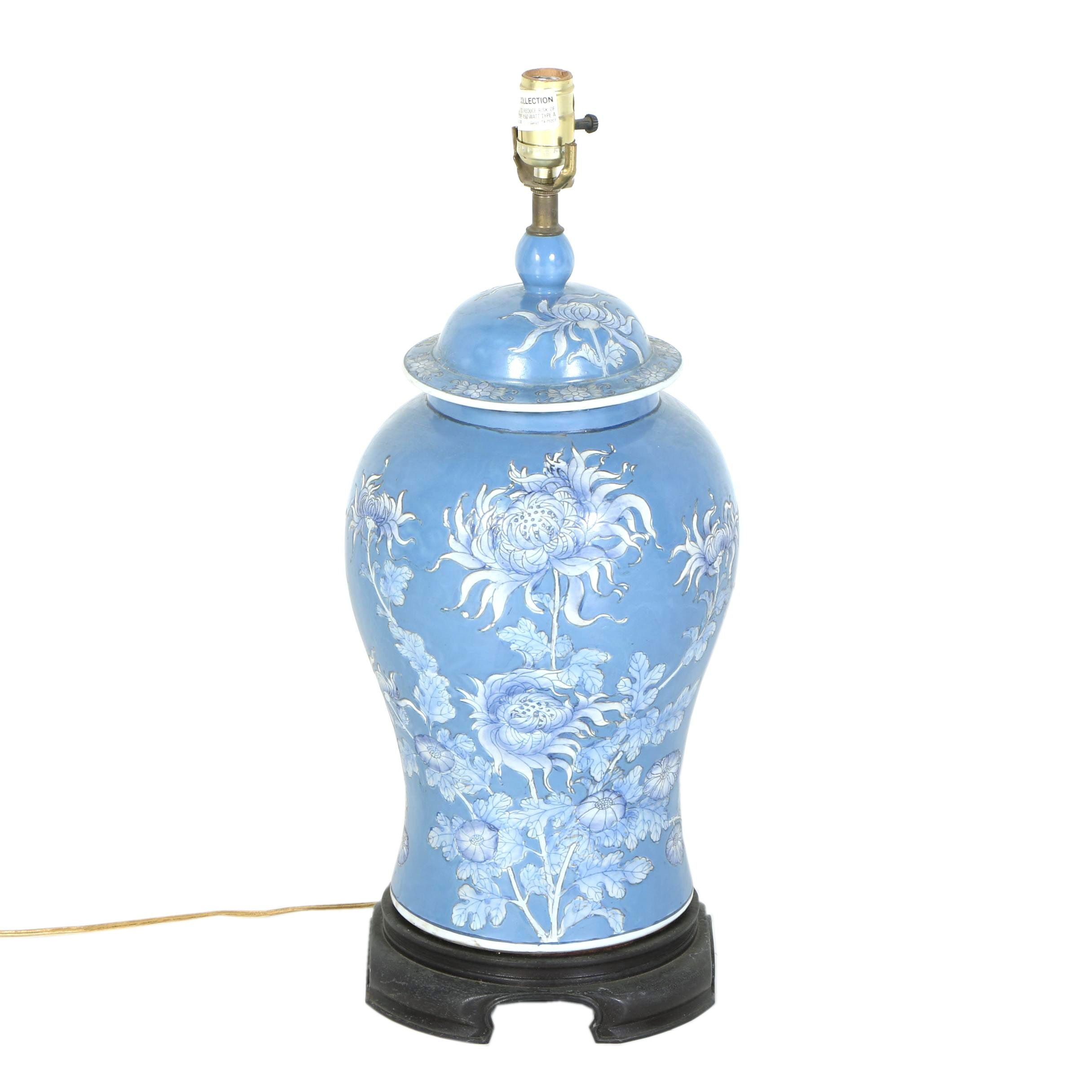 Blue Chinoiserie Floral Urn Table Lamp