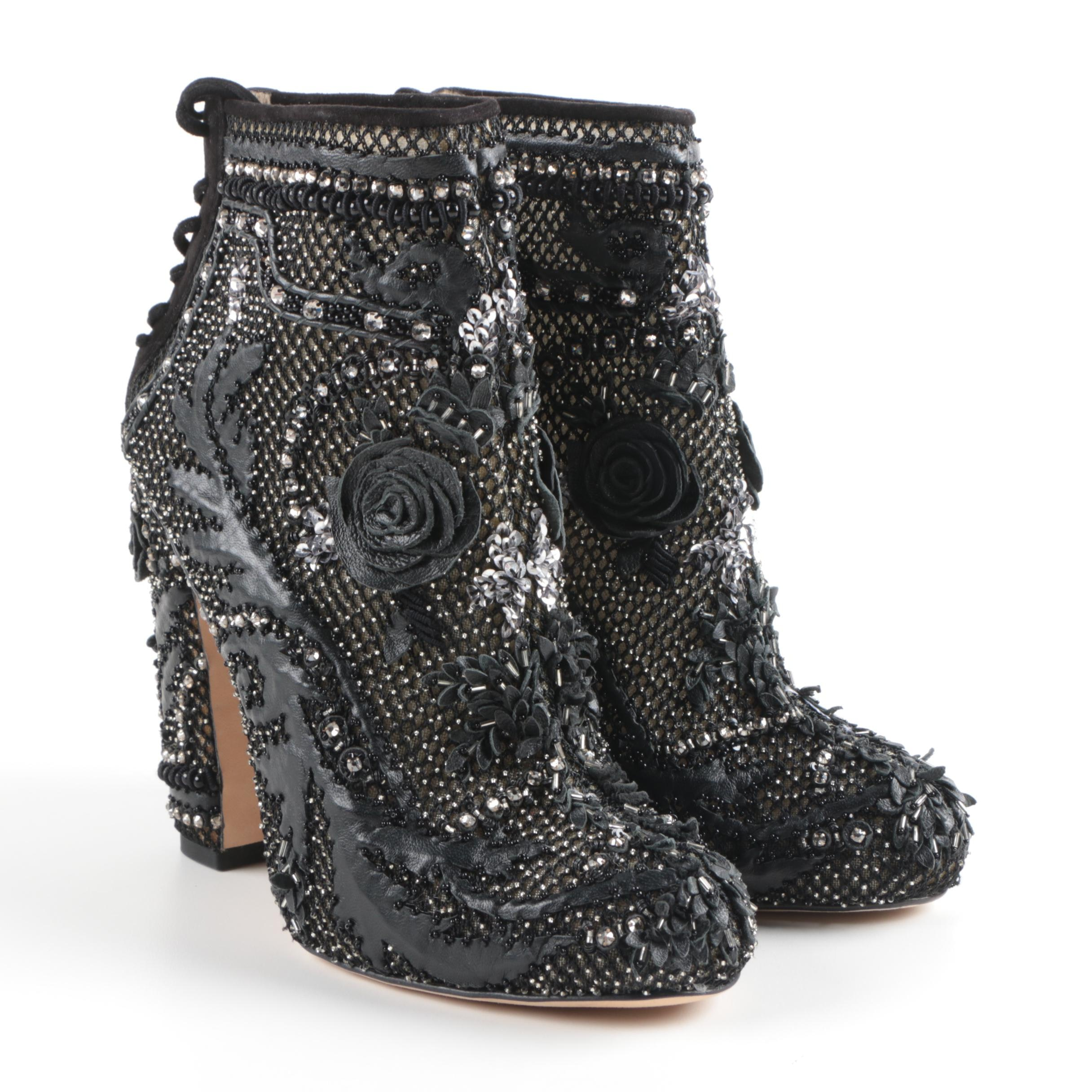 Marchesa Black Beaded and Leather High Heeled Ankle Boot