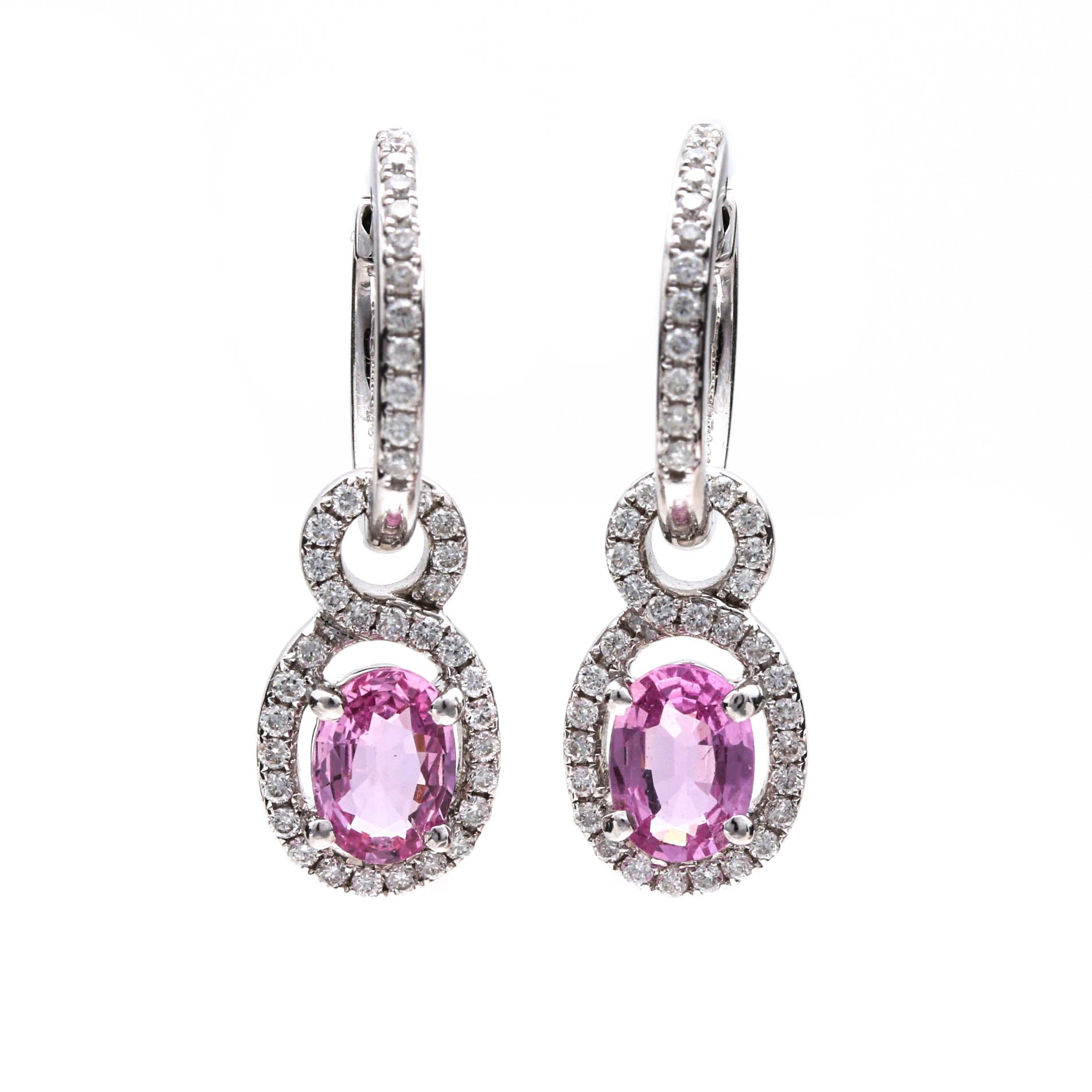 18K White Gold Pink Sapphire and Diamond Dangle Earrings