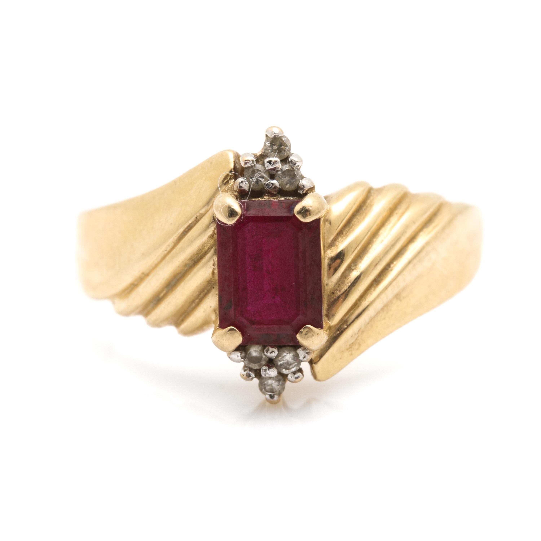 14K Yellow Gold Ruby Diamond Ring