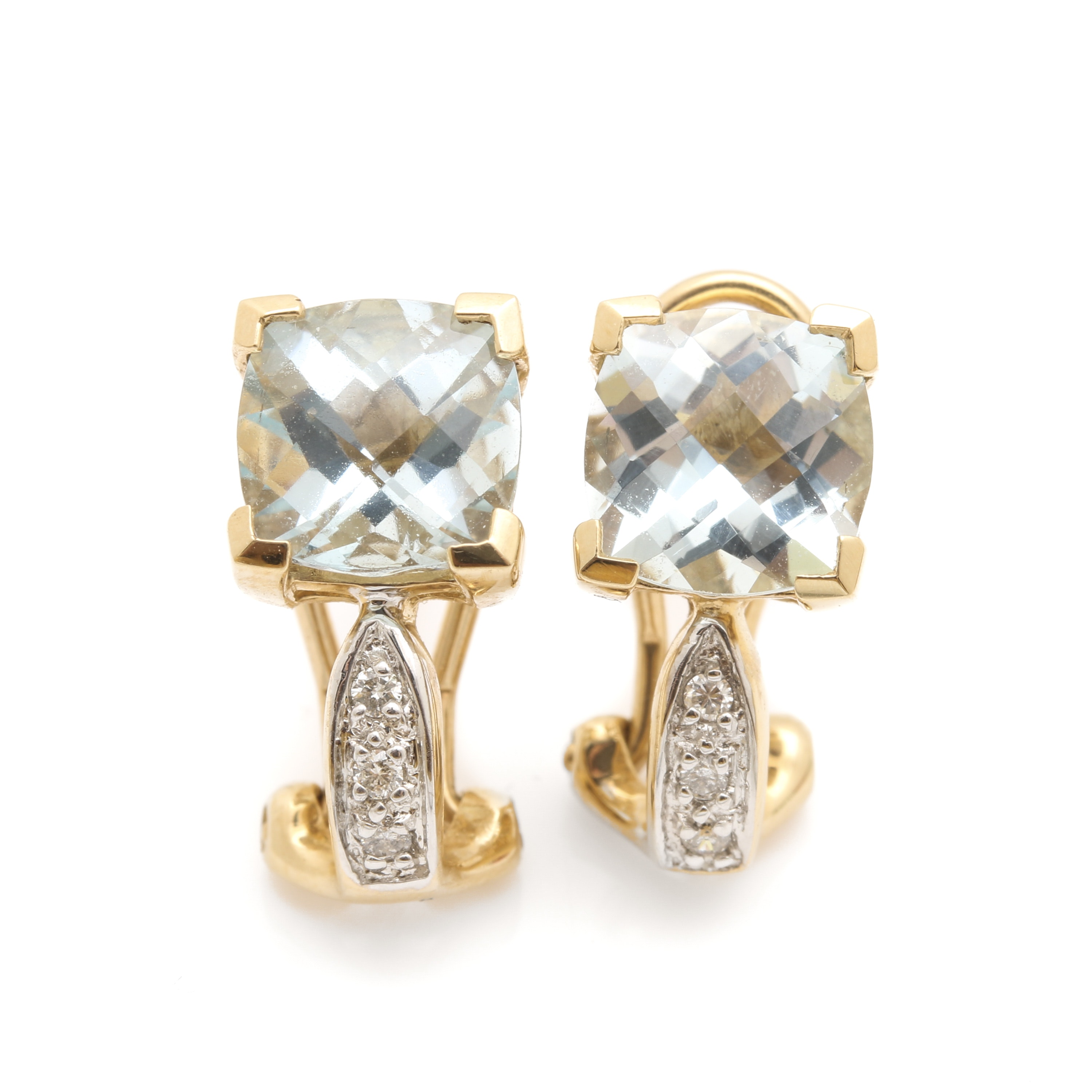 Effy Jewelry 14K Yellow Gold Aquamarine and Diamond Earrings