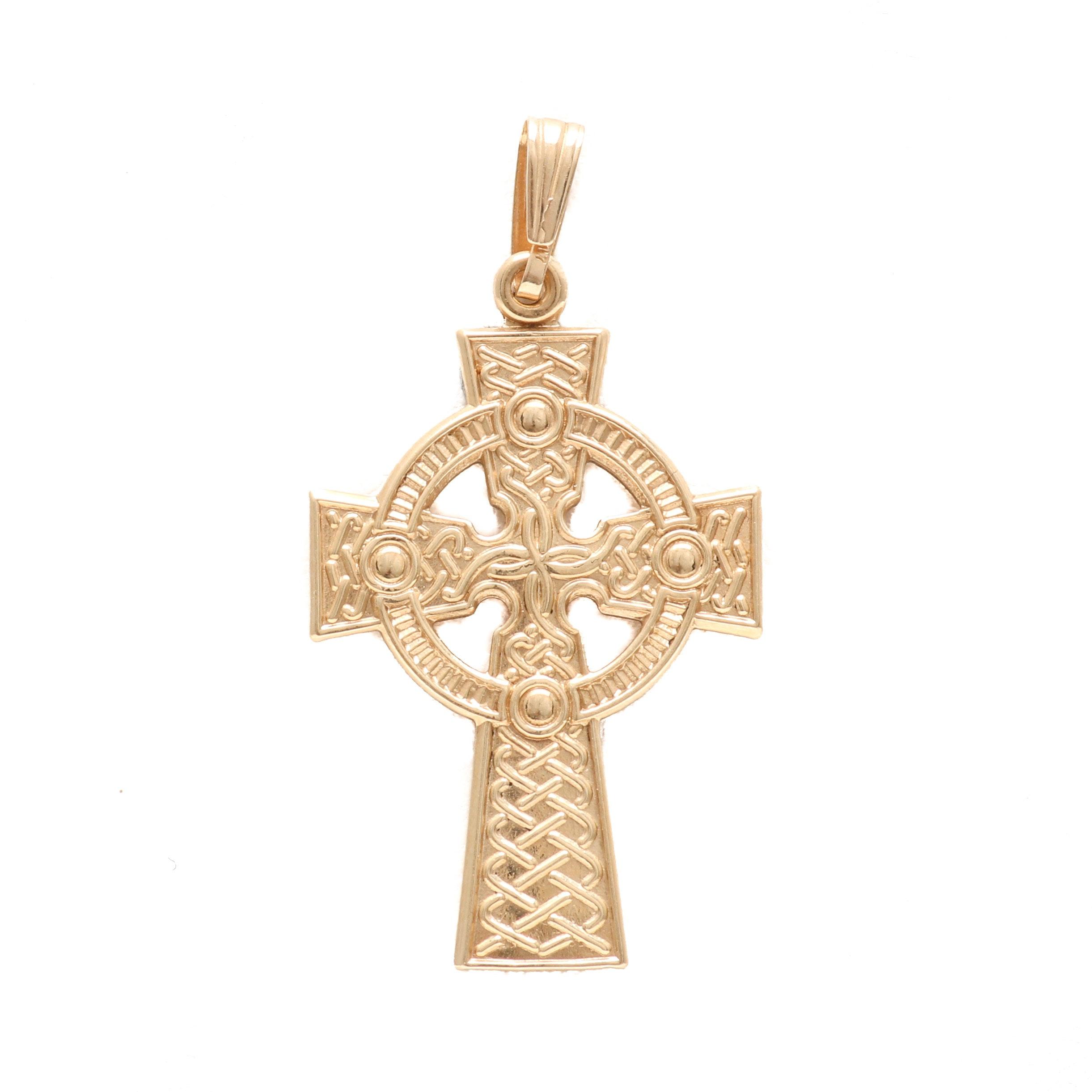 10K Yellow Gold Celtic Cross Pendant