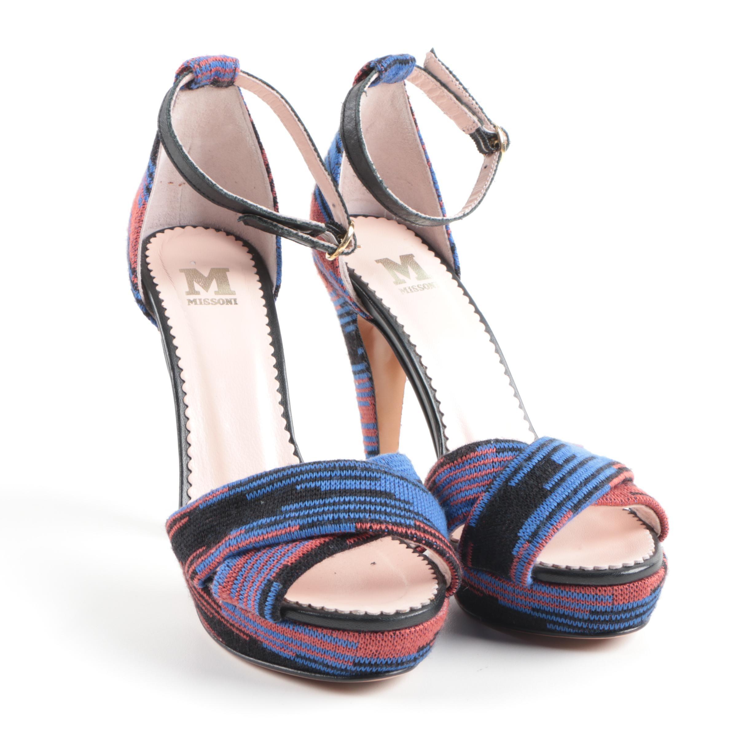 Missoni Knit Orange and Blue Heels