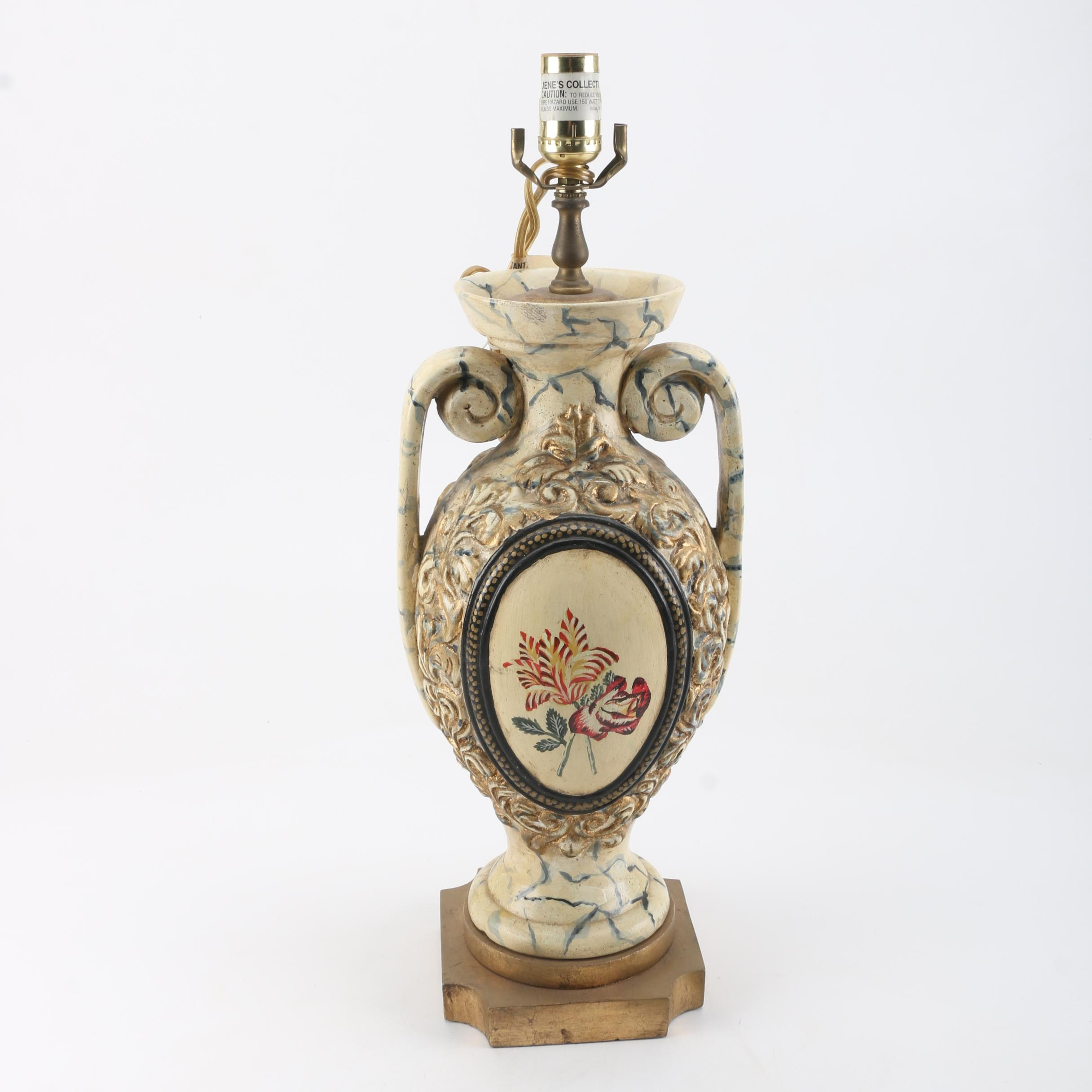 Ornate Hand-Painted Metal Urn Table Lamp by Jene's Collection