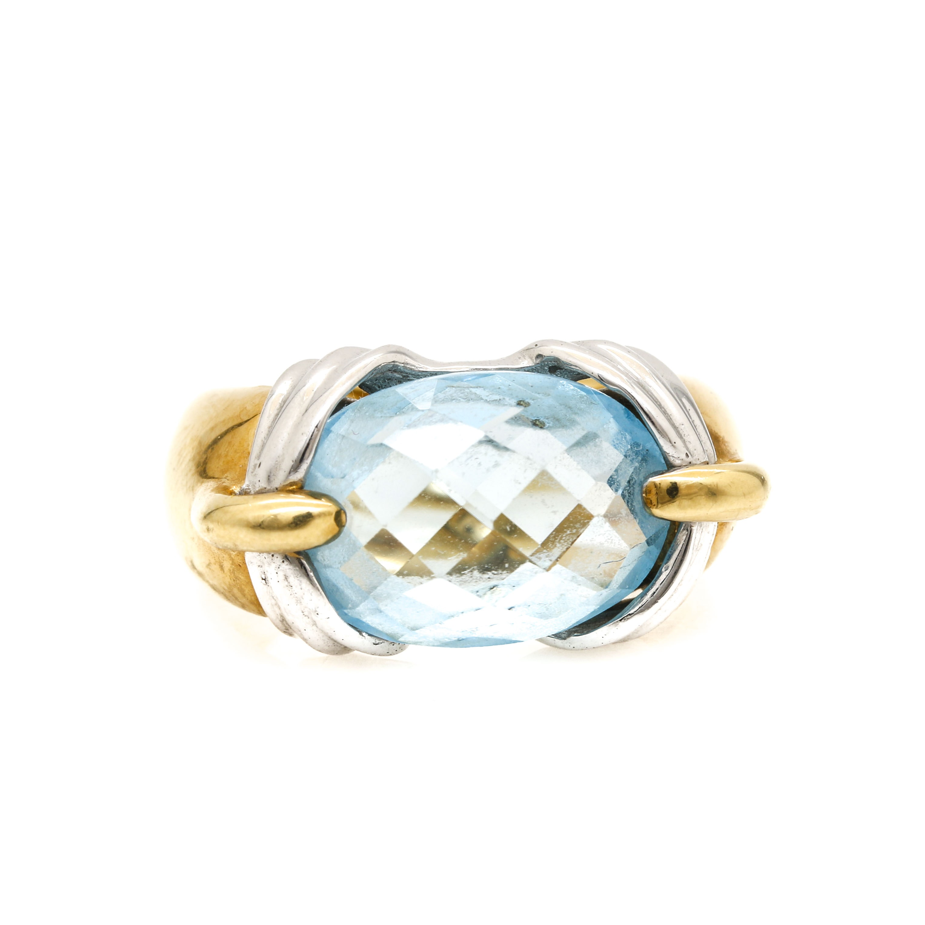 18K Yellow and White Gold Blue Topaz Ring