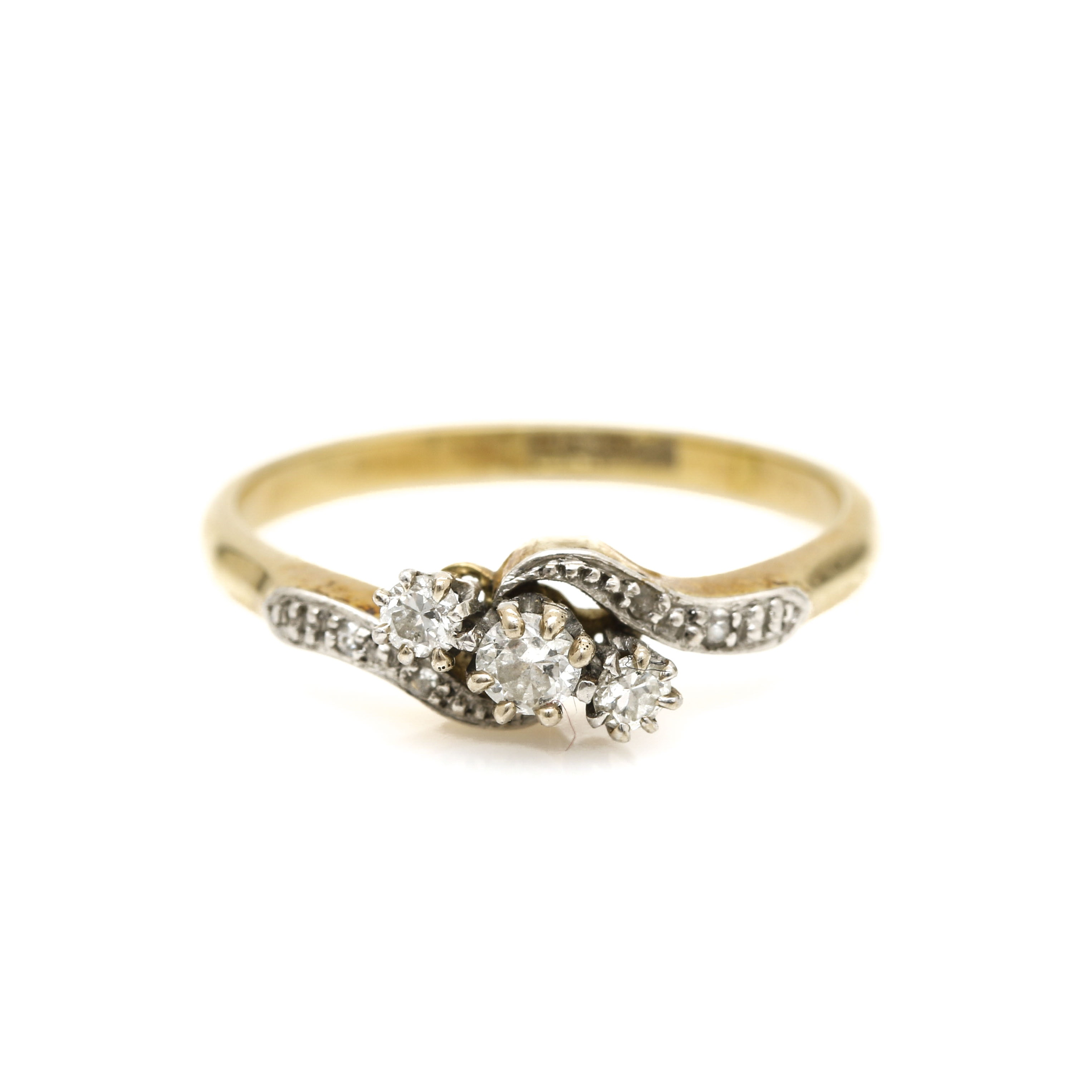 14K Yellow Gold and Platinium Diamond Ring