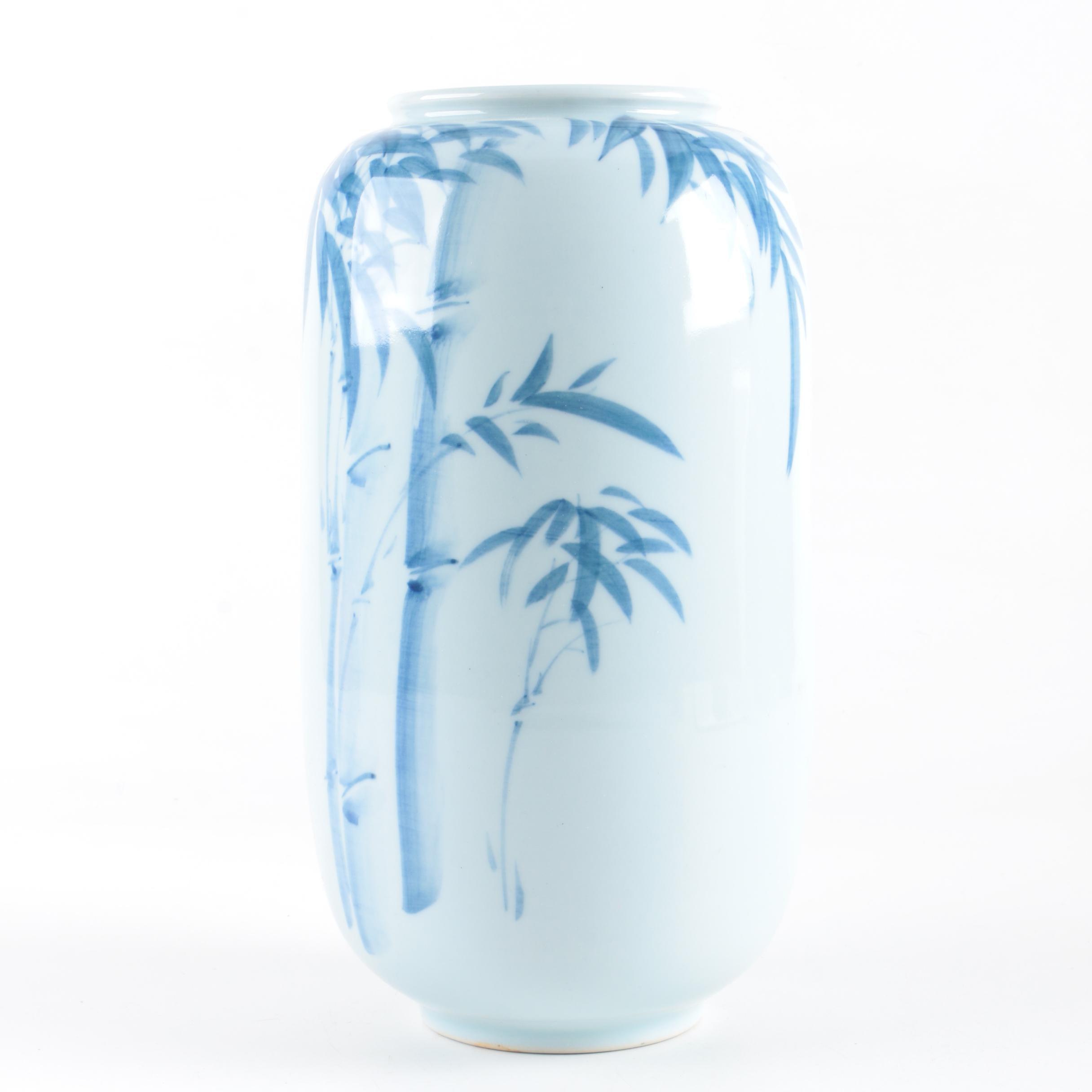 White and Blue Ceramic Vase Commemorating Korean National Sports Festival