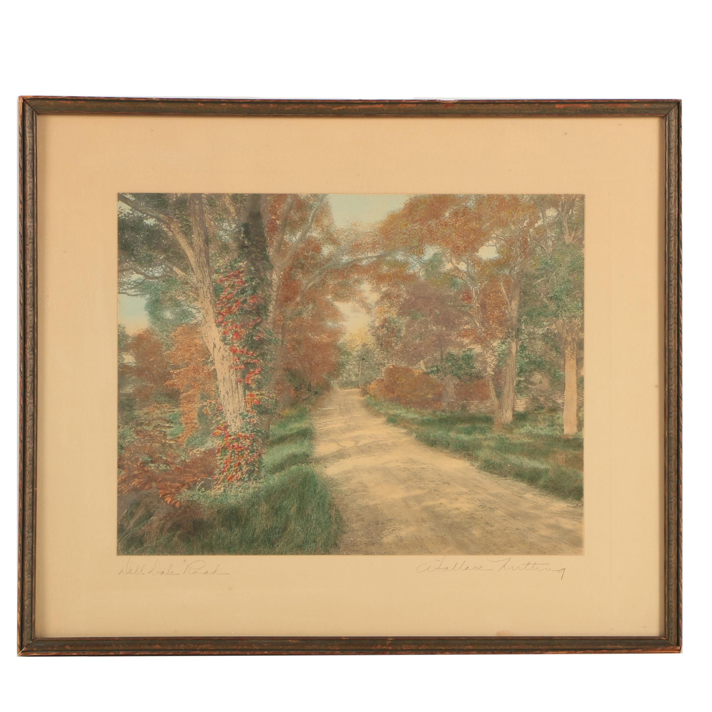 """Wallace Nutting Hand-Tinted Photograph on Paper """"Dell Dale Road"""""""