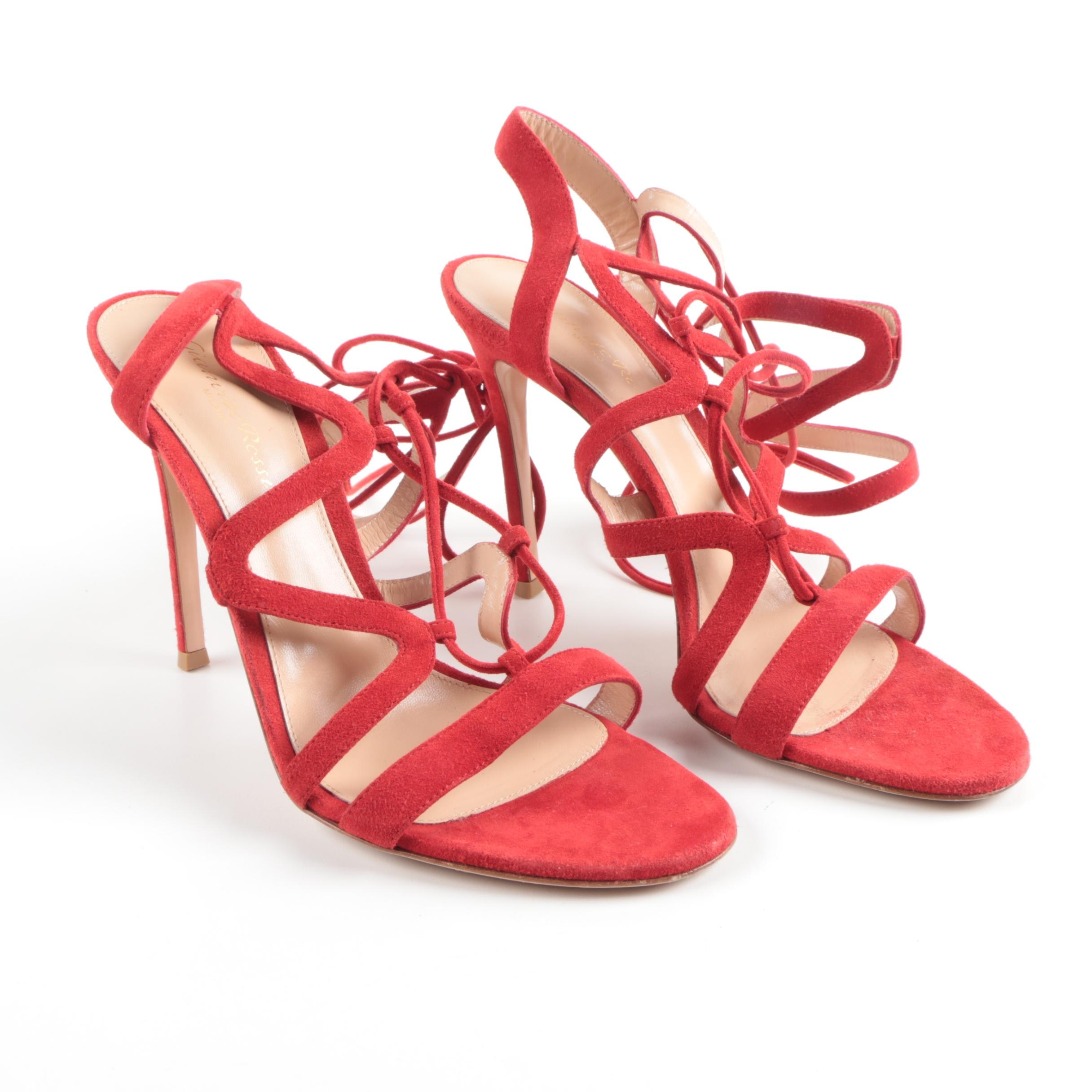 Gianvito Rossi Red Suede Lace-Up Ankle Heels