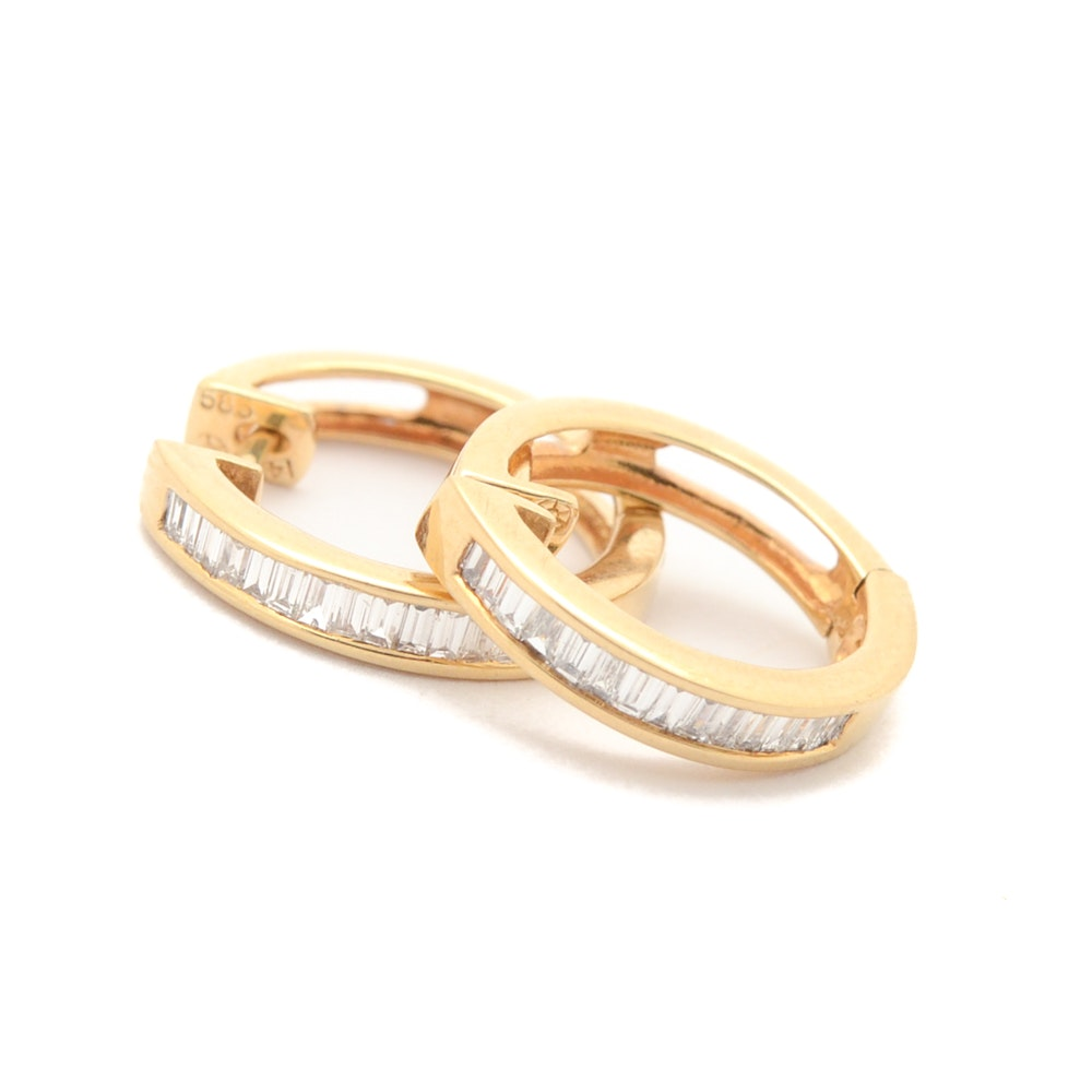 14K Yellow Gold Channel Set Baguette Diamond Earrings