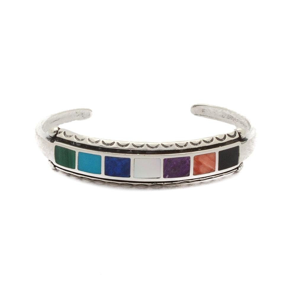 Southwestern Style Sterling Silver Multi-Stone Inlaid Cuff Bracelet