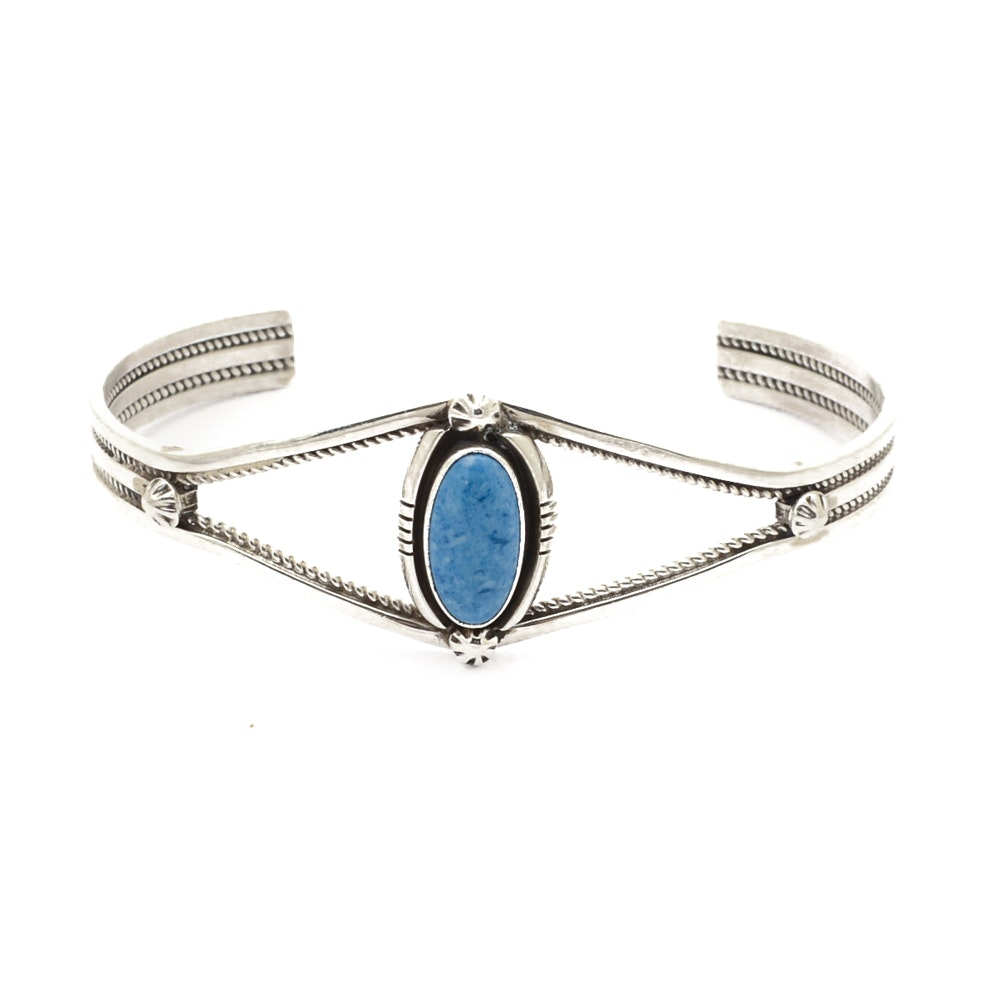 Sterling Silver and Imitation Sodalite Cuff Bracelet