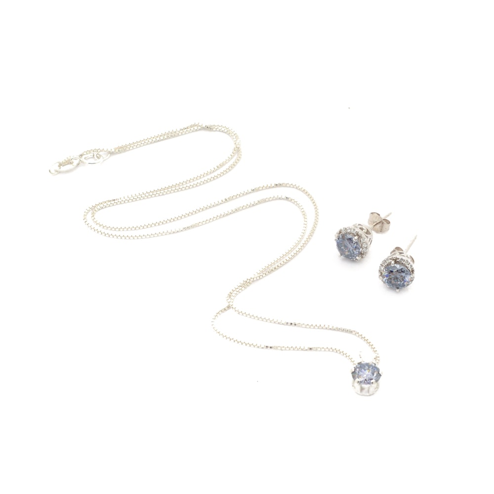 Sterling Silver and Violet Strontium Titanate Necklace and Earrings