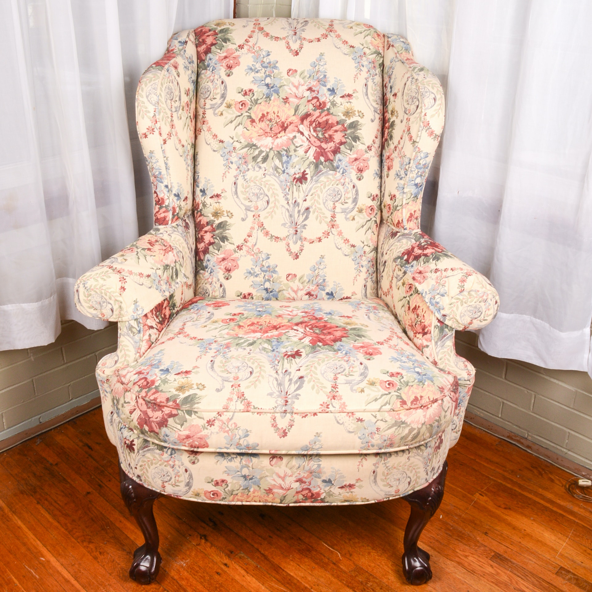 Vintage Chippendale Style Upholstered  Wingback Chair by Charleston House