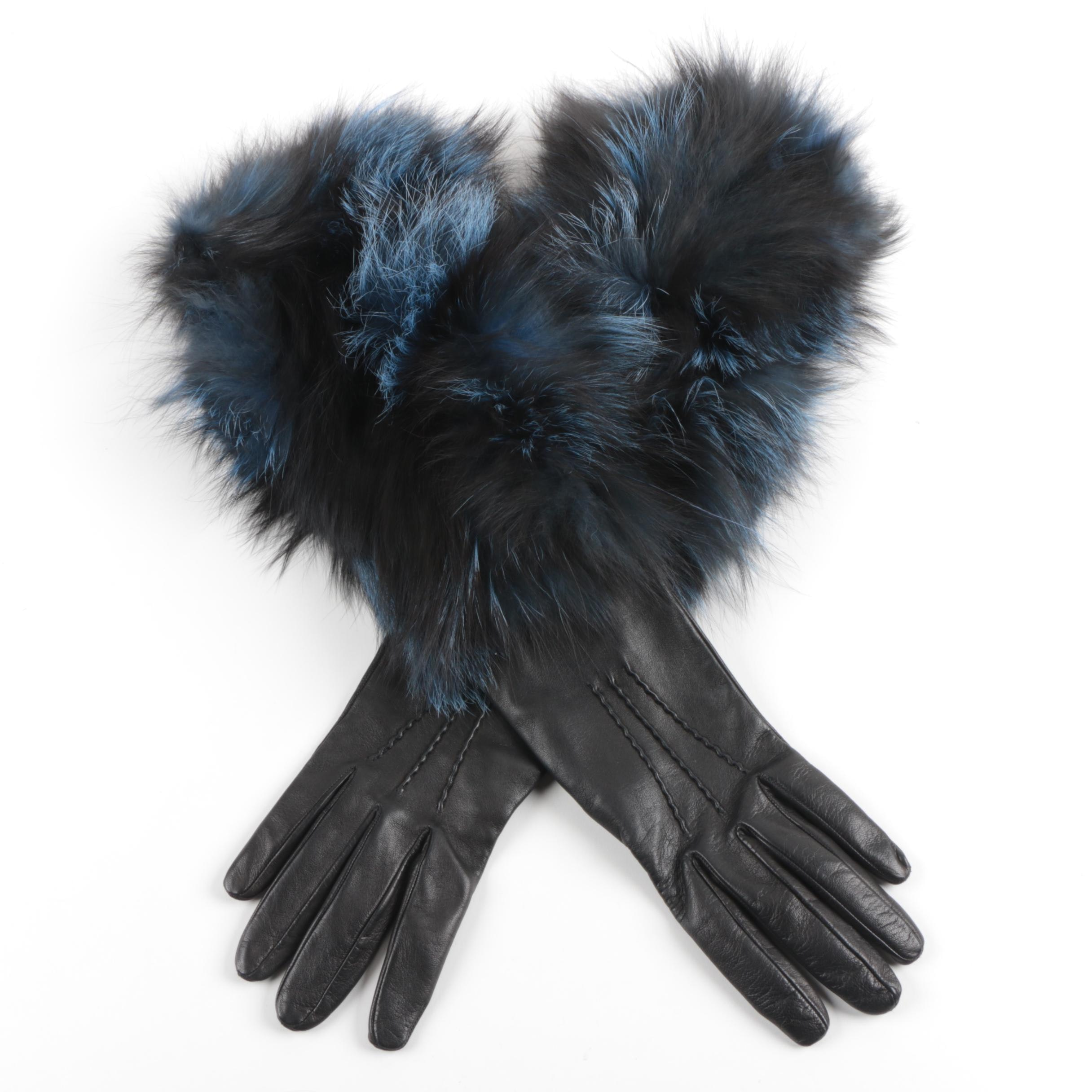 Guanti Giglio Fiorentino Leather Gloves with Fox Fur Trim