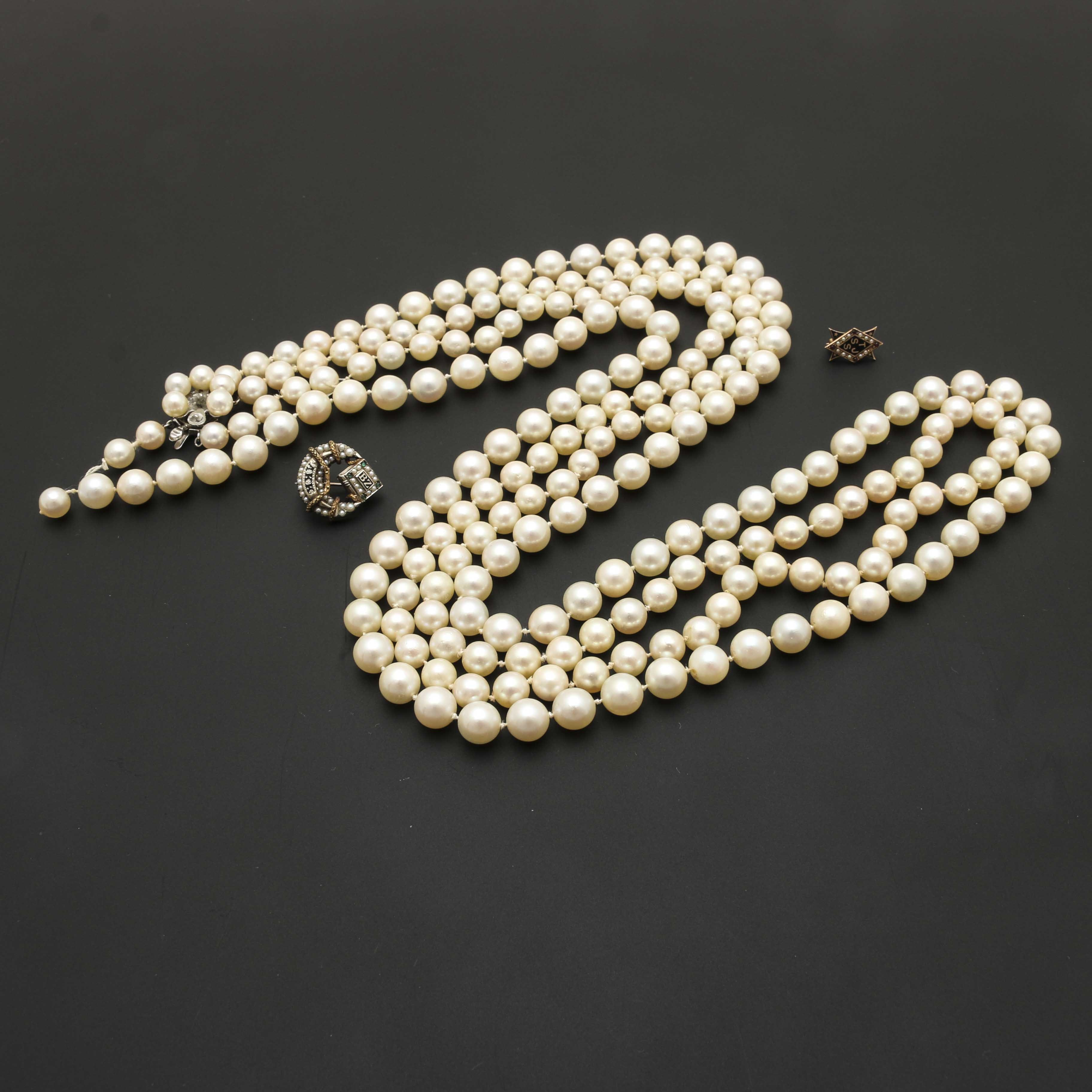 10K and 14K Gold Pearl Necklace and Brooch Selection With Gemstones