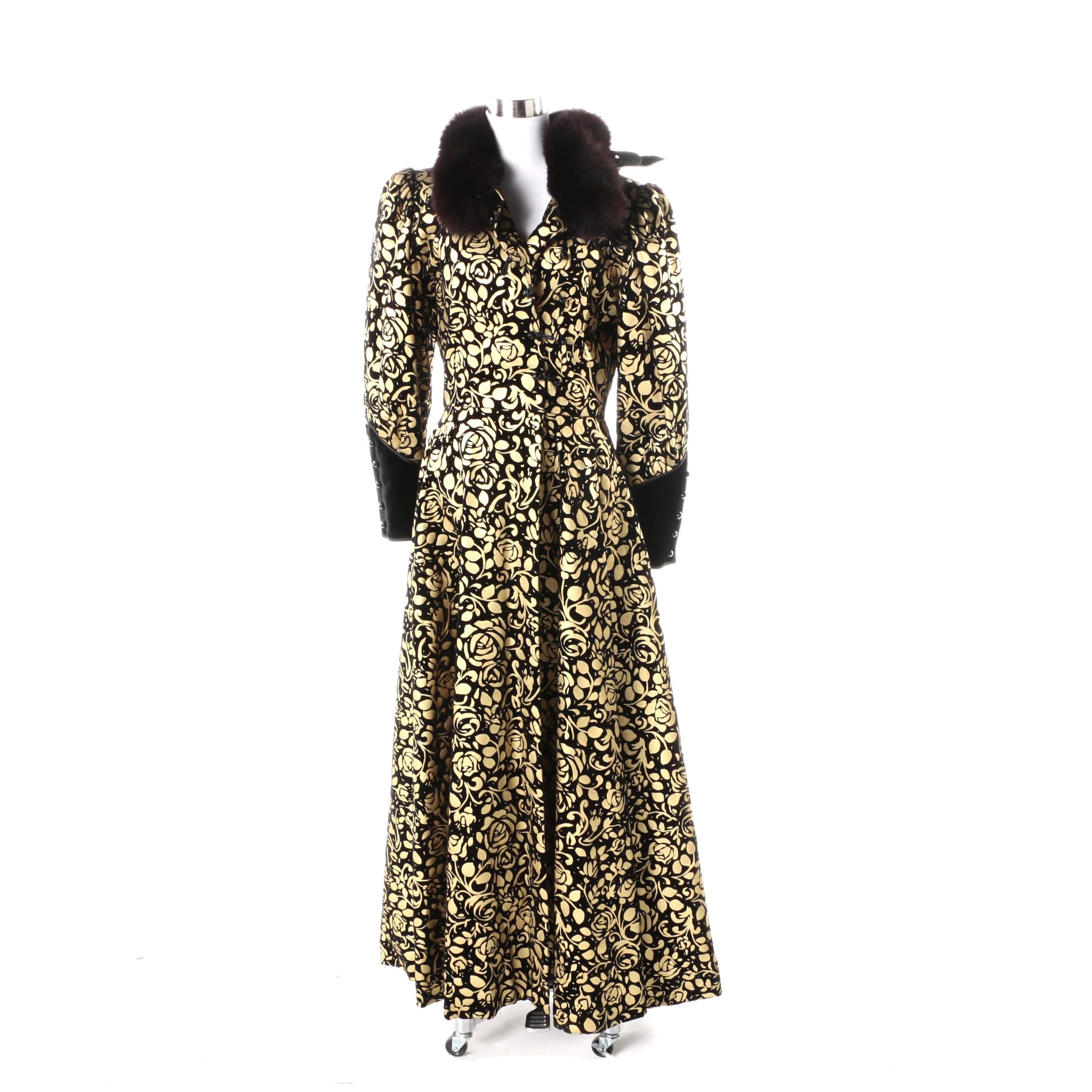 Nina Ricci Haute Boutique Velvet Coat with Fox Fur Collar
