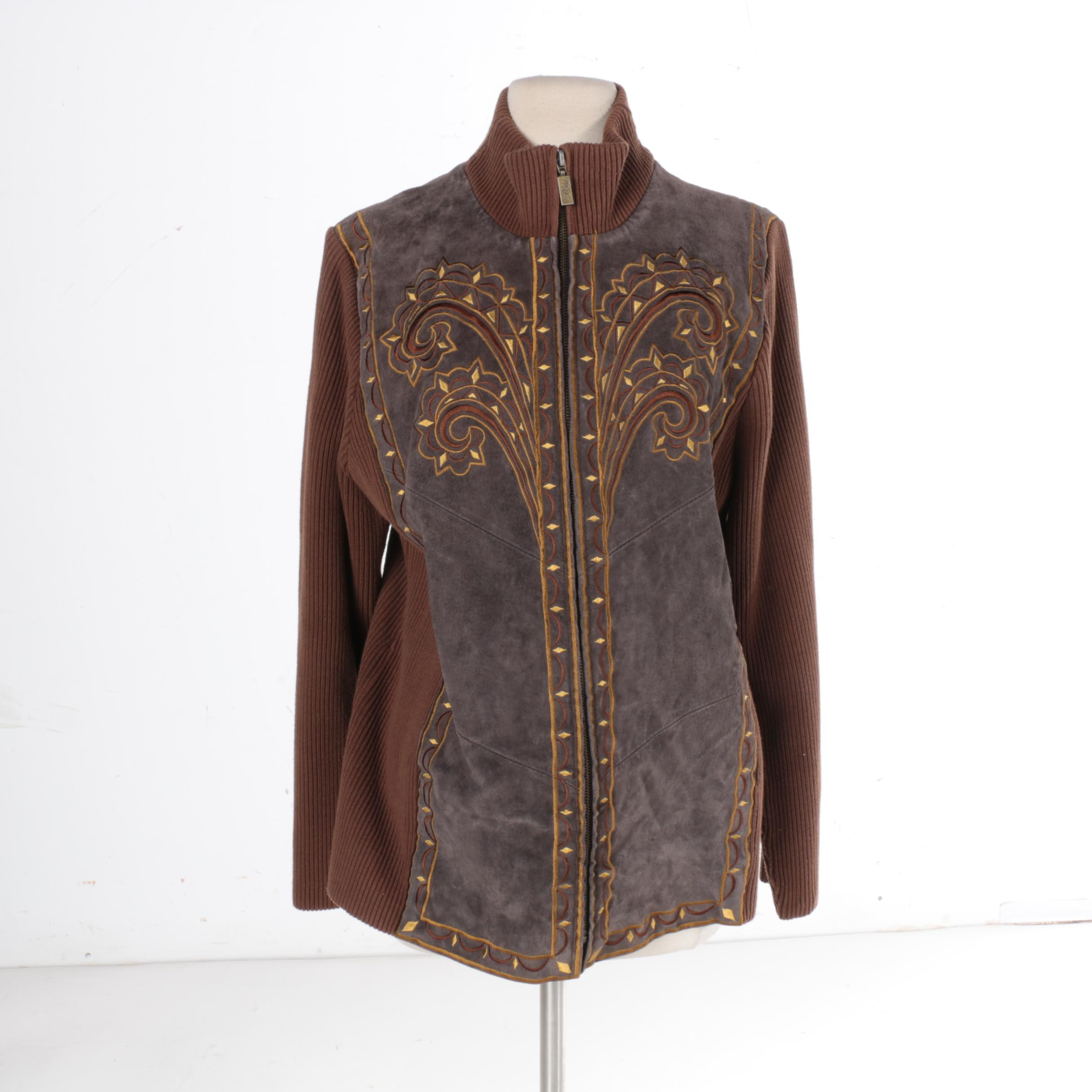 Women's Bob Mackie Wearable Art Brown and Grey Suede Jacket