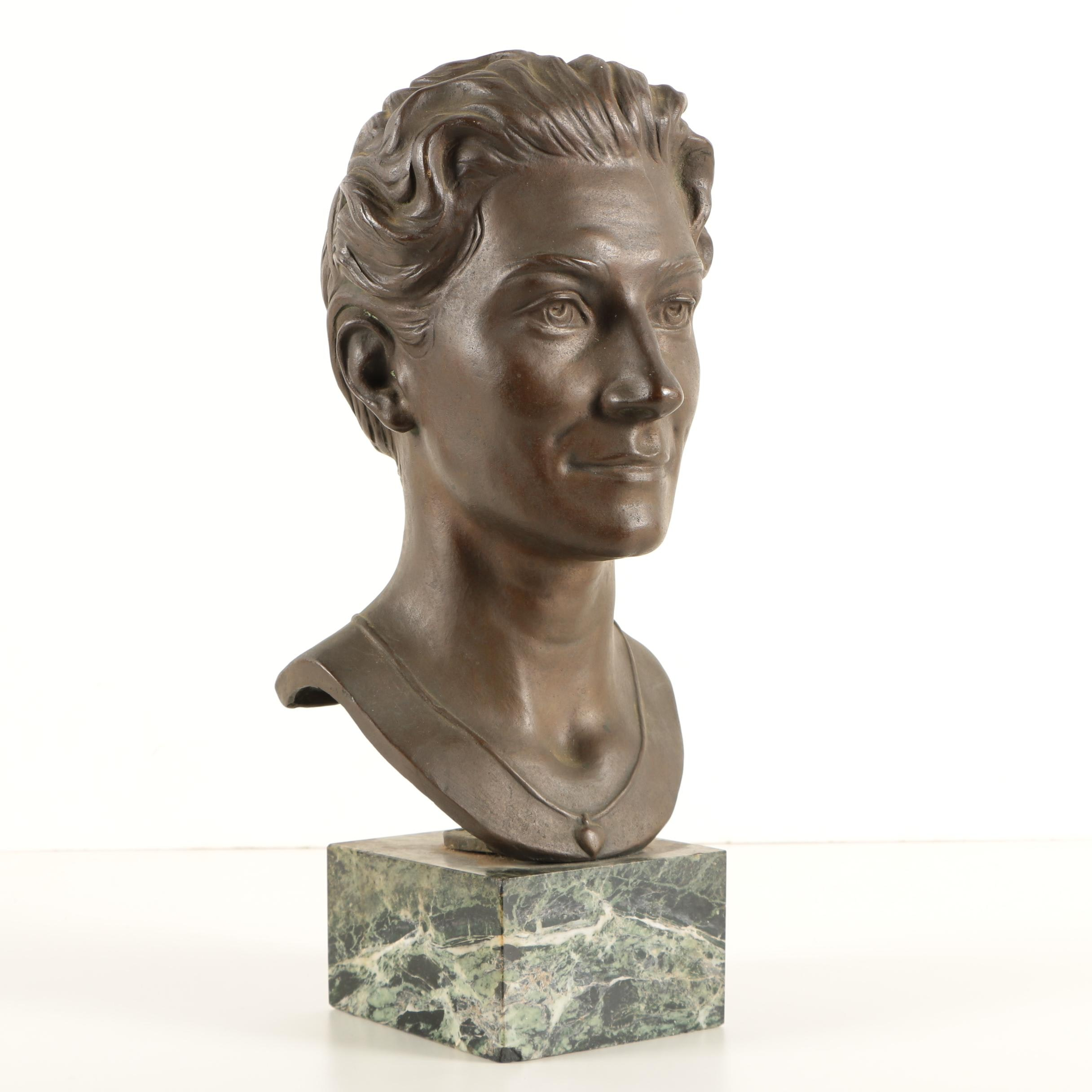 Helen Zelezny-Scholz 1958 Bronze Bust on Marble Base